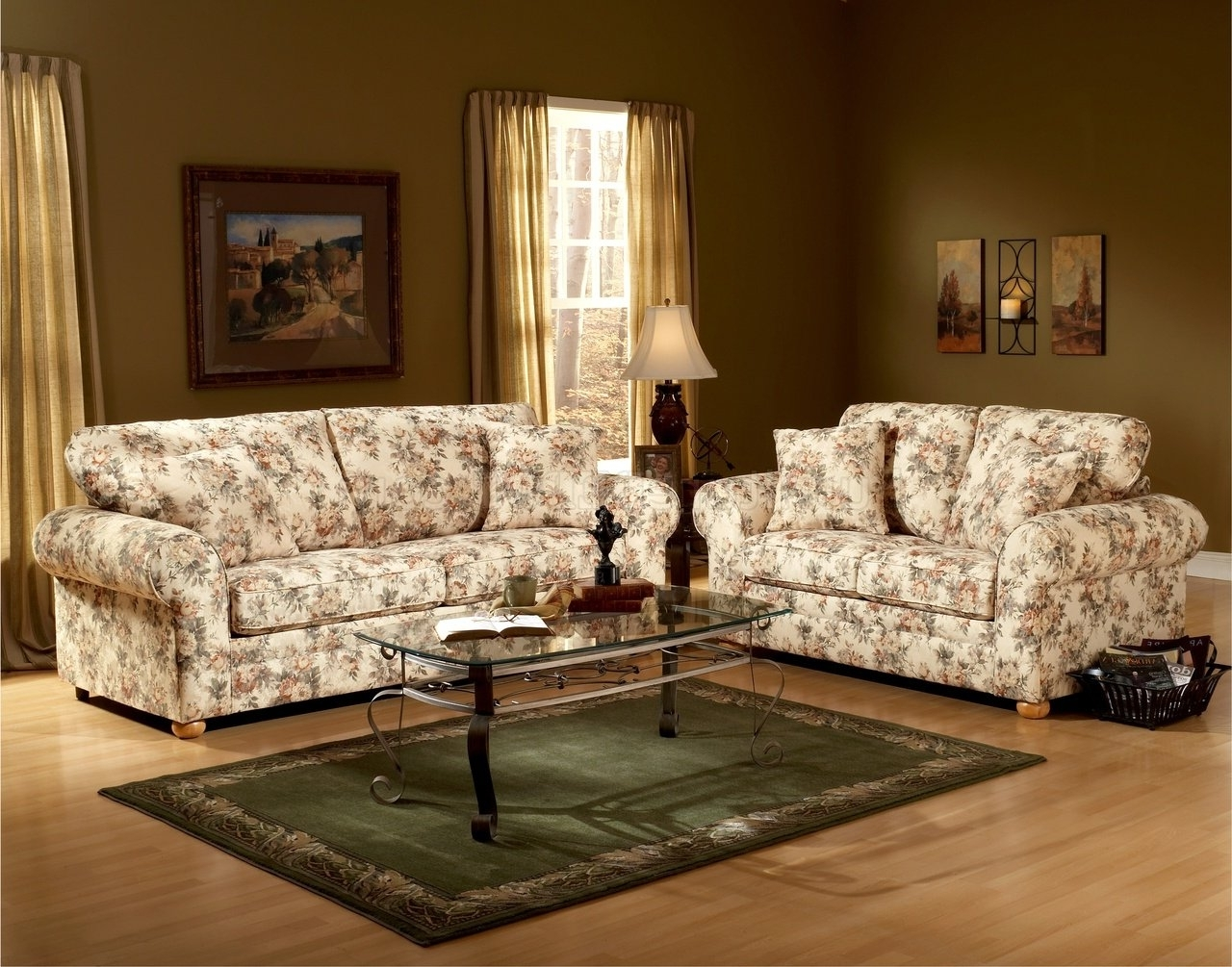 Favorite Traditional Sofas And Chairs For Floral Pattern Fabric Traditional Sofa & Loveseat Set (View 1 of 15)