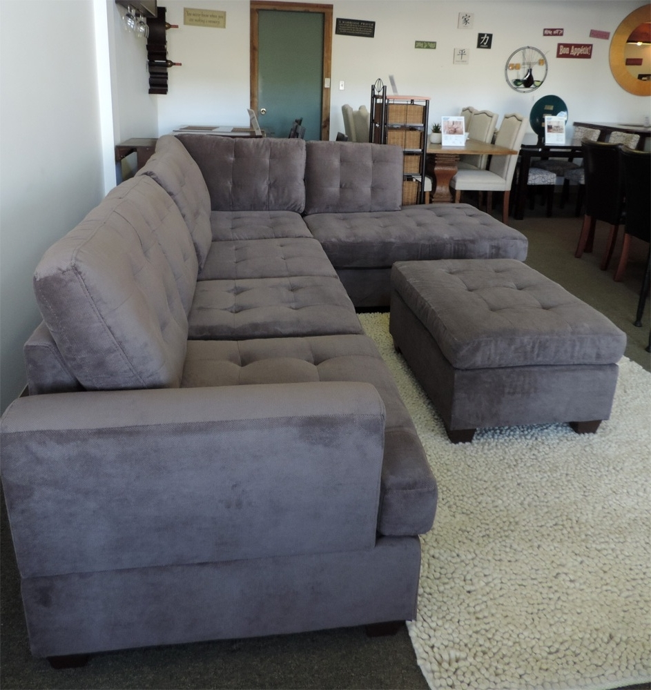 Favorite Tufted Sectionals With Chaise Regarding Charcoal Grey Waffle Suede Sectional Sofa Right Facing Chaise (View 3 of 15)