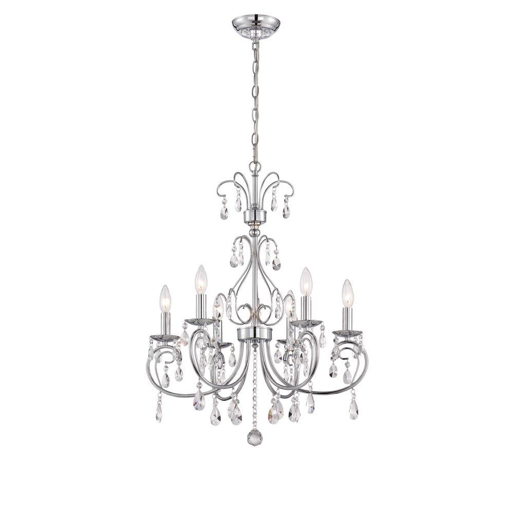 Favorite World Imports Kothari 6 Light Chrome Chandelier With Hanging Regarding Chrome Chandeliers (View 9 of 15)