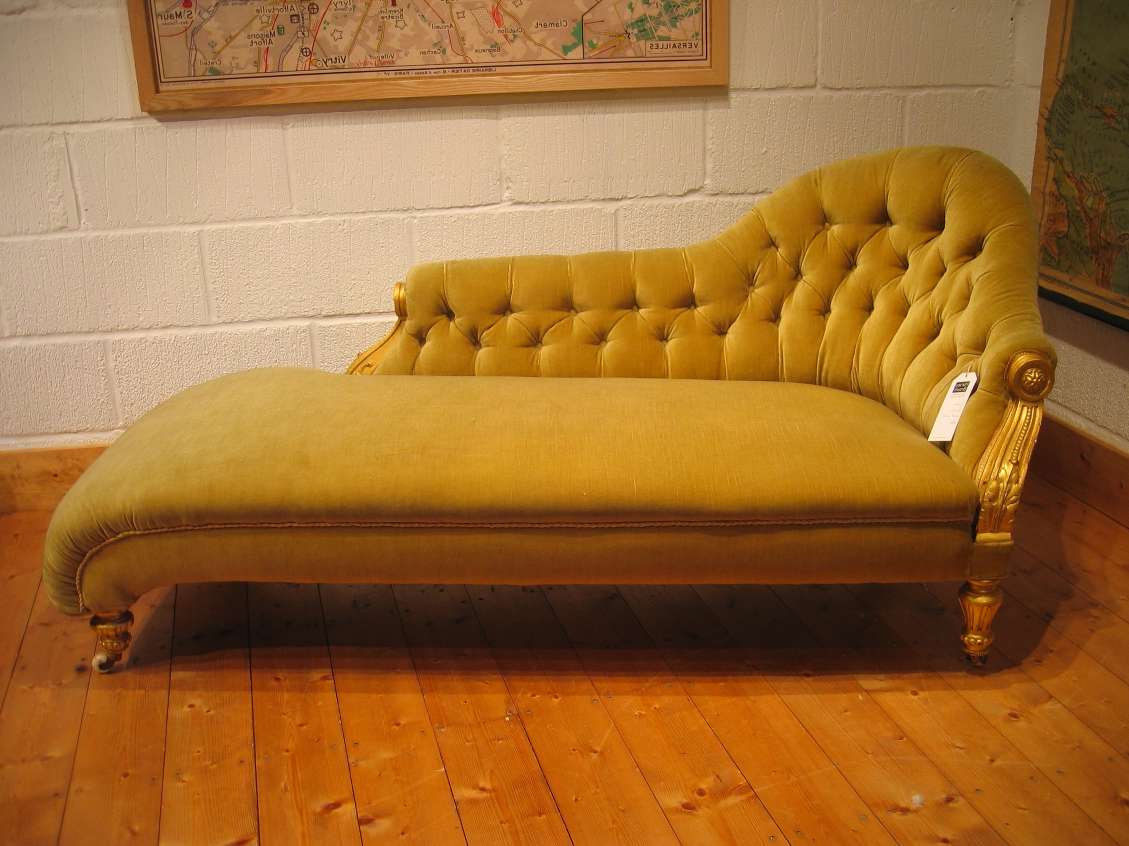 Favorite Yellow Color Antique Victorian Chaise Lounge Sofa Bed With Wooden Inside Vintage Chaise Lounges (View 5 of 15)