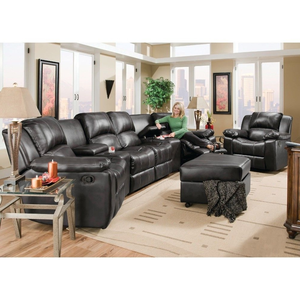 Flick Home Theater – 2 Recliners, 2 Consoles & Reclining Loveseat Within Fashionable Sofas With Consoles (View 6 of 15)