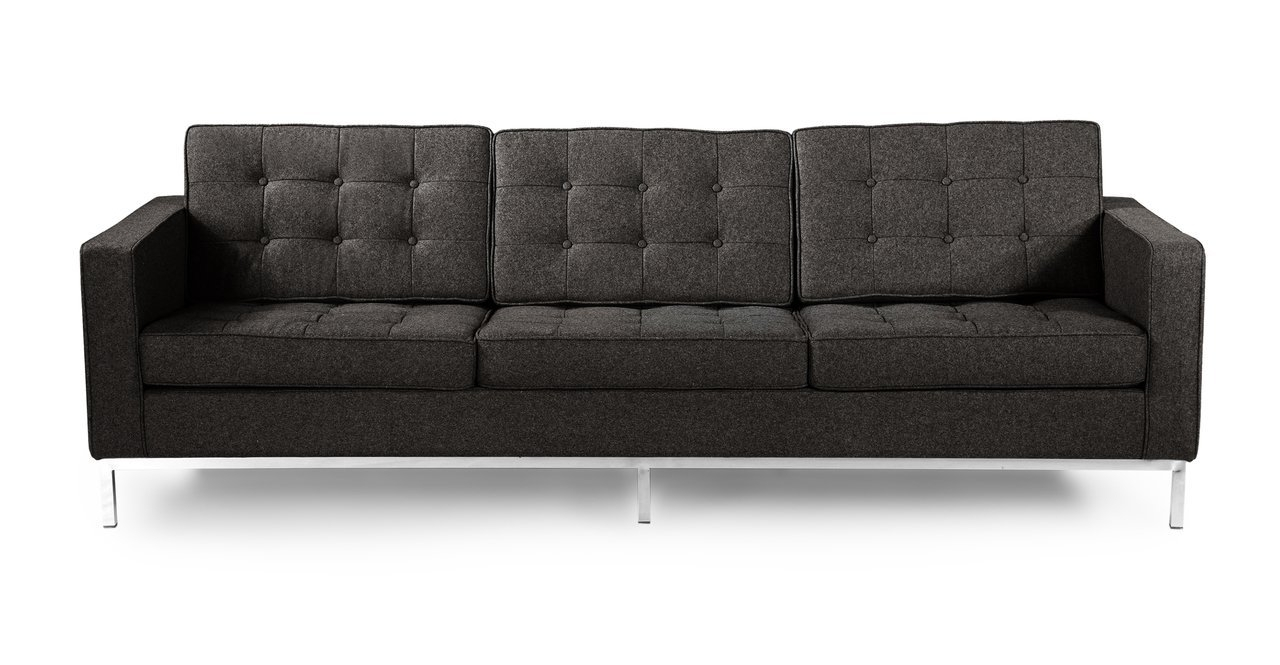 Florence Knoll Fabric Sofas For Preferred Amazon: Kardiel Florence Knoll Style 3 Seat Sofa, Charcoal (View 8 of 15)