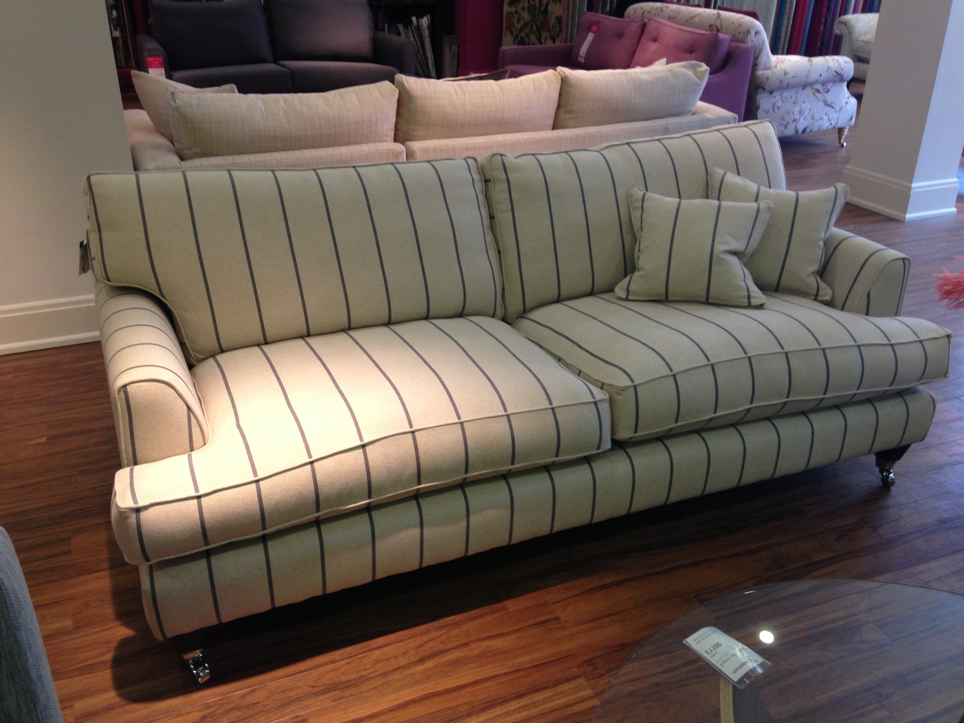 Florence Large Sofa In Heron Stripe Http://www.sofaworkshop intended for 2018 Florence Medium Sofas