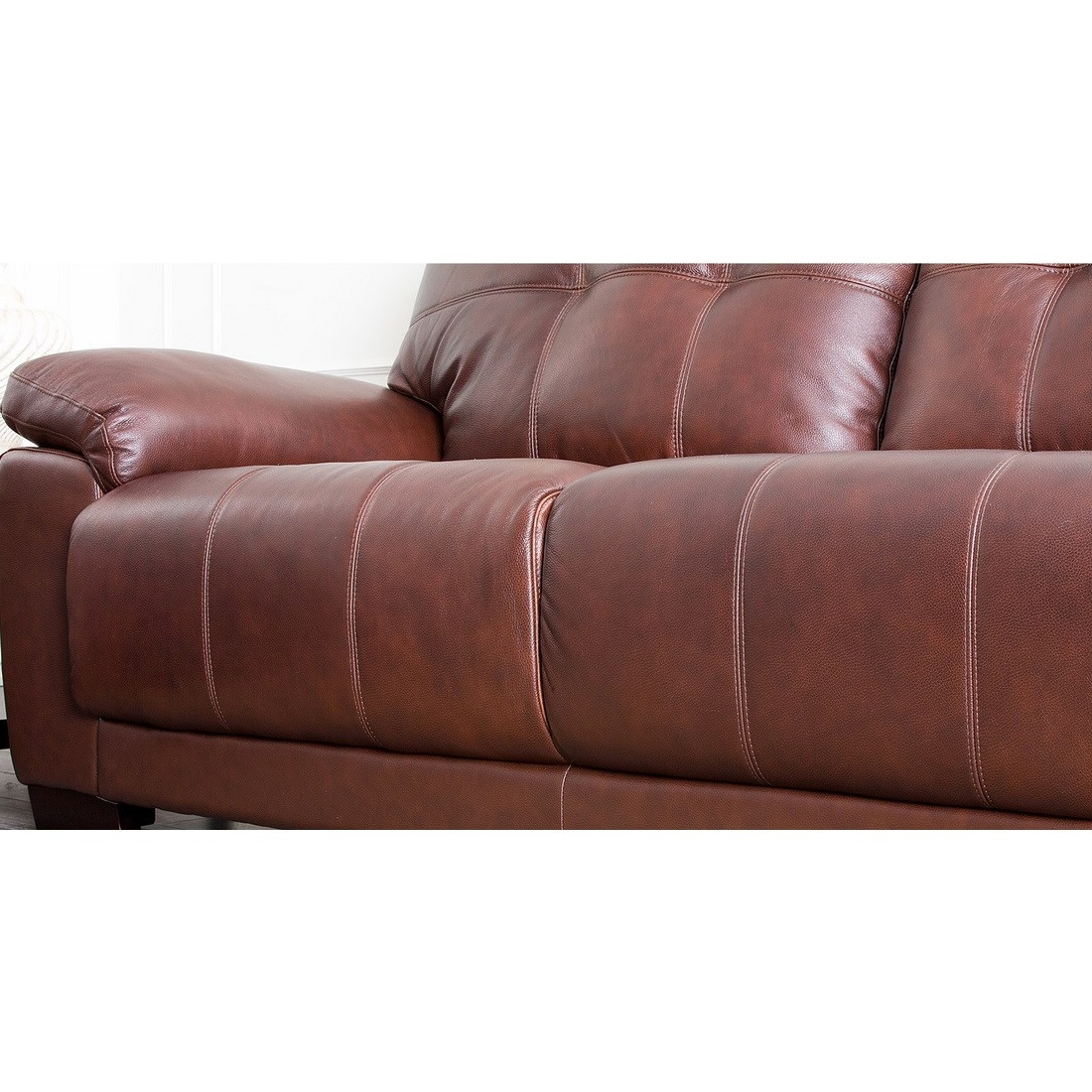 Florence Leather Sofas Intended For Most Popular Abbyson Living Sf 5902 Cst 3 Florence Two Tone Brown Leather Sofa (View 4 of 15)