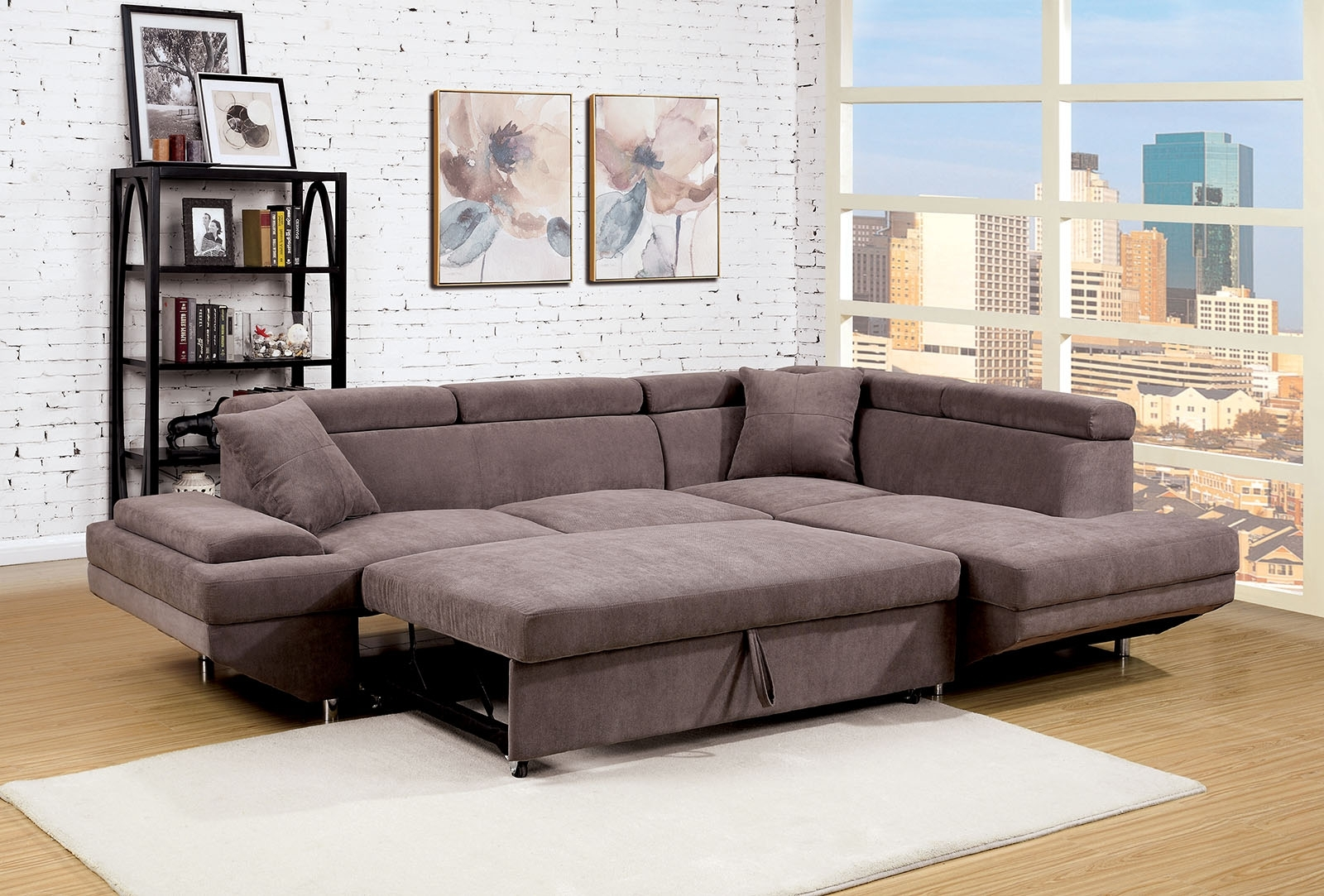 Foreman Contemporary Style Brown Flannelette Fabric Pull Out For Best And Newest Adjustable Sectional Sofas With Queen Bed (View 8 of 15)