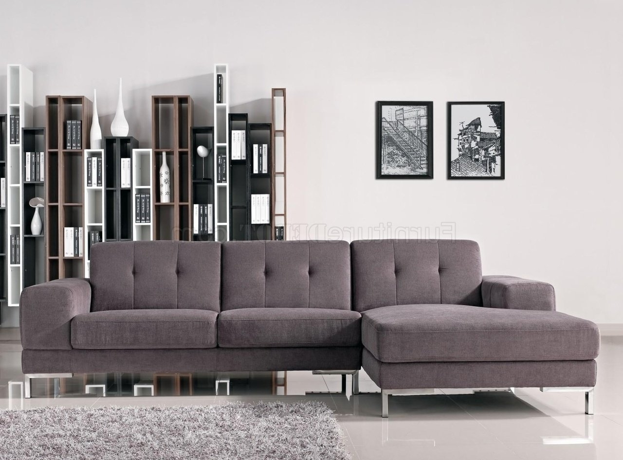 Forli Sectional Sofa In Grey Fabric 1071Bvig W/metal Legs In Famous Dania Sectional Sofas (View 14 of 15)