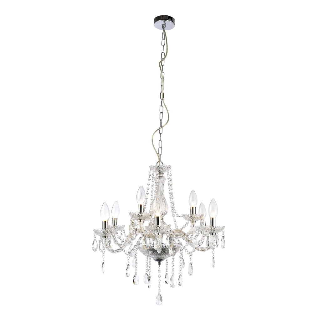 Forum Lighting Grace 9 Light Bathroom Chandelier In Polished Chrome Throughout Trendy Bathroom Safe Chandeliers (View 15 of 15)