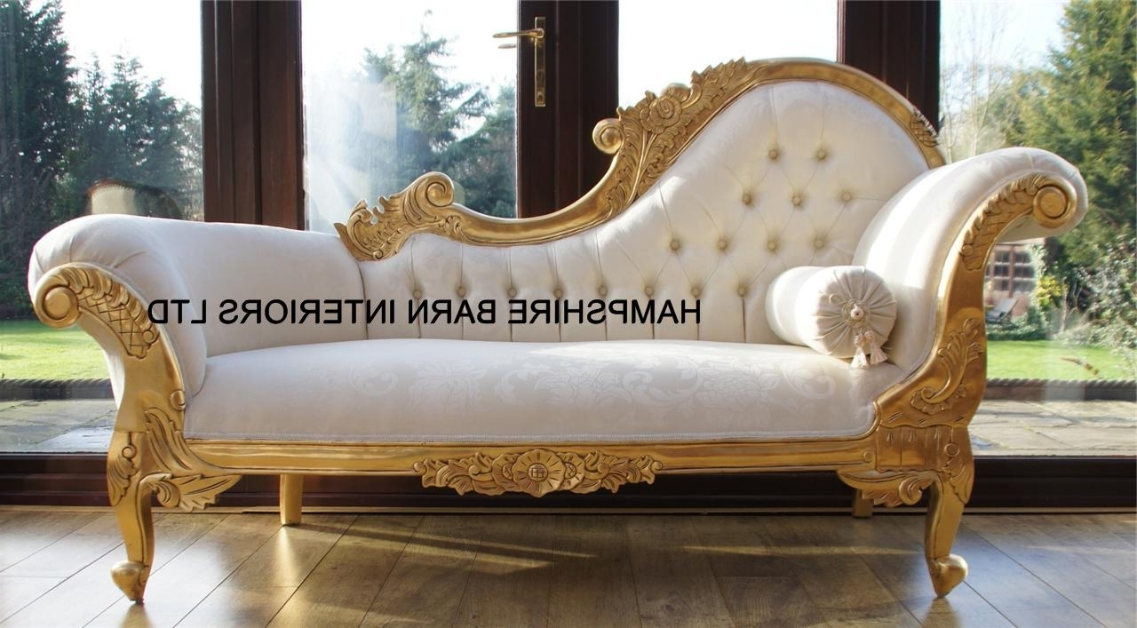 French Chaise Lounges Inside Most Recently Released Chaise Longue Ornate Gold Leaf Ivory Fabric Lounge Sofa French (View 12 of 15)