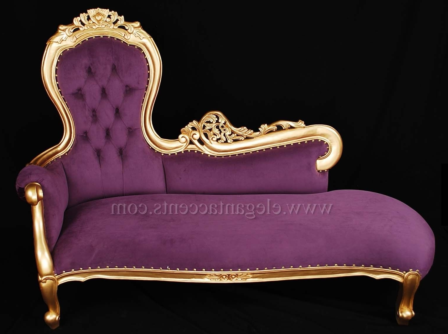 French Rose Sofa Chaise Lounge – Gold Finish With Purple Fabric Within Well Liked Purple Chaises (View 8 of 15)