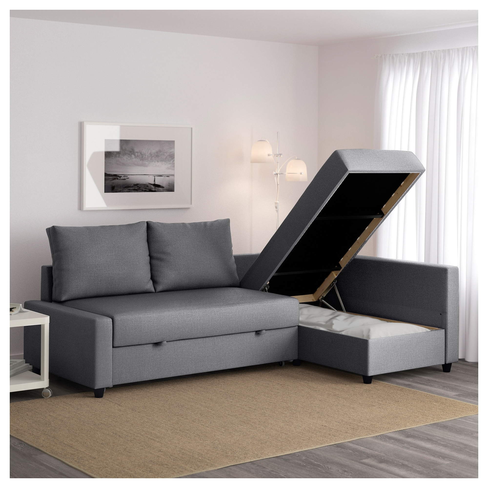 Friheten Corner Sofa Bed With Storage Skiftebo Dark Grey – Ikea Pertaining To Best And Newest Ikea Chaise Couches (View 15 of 15)