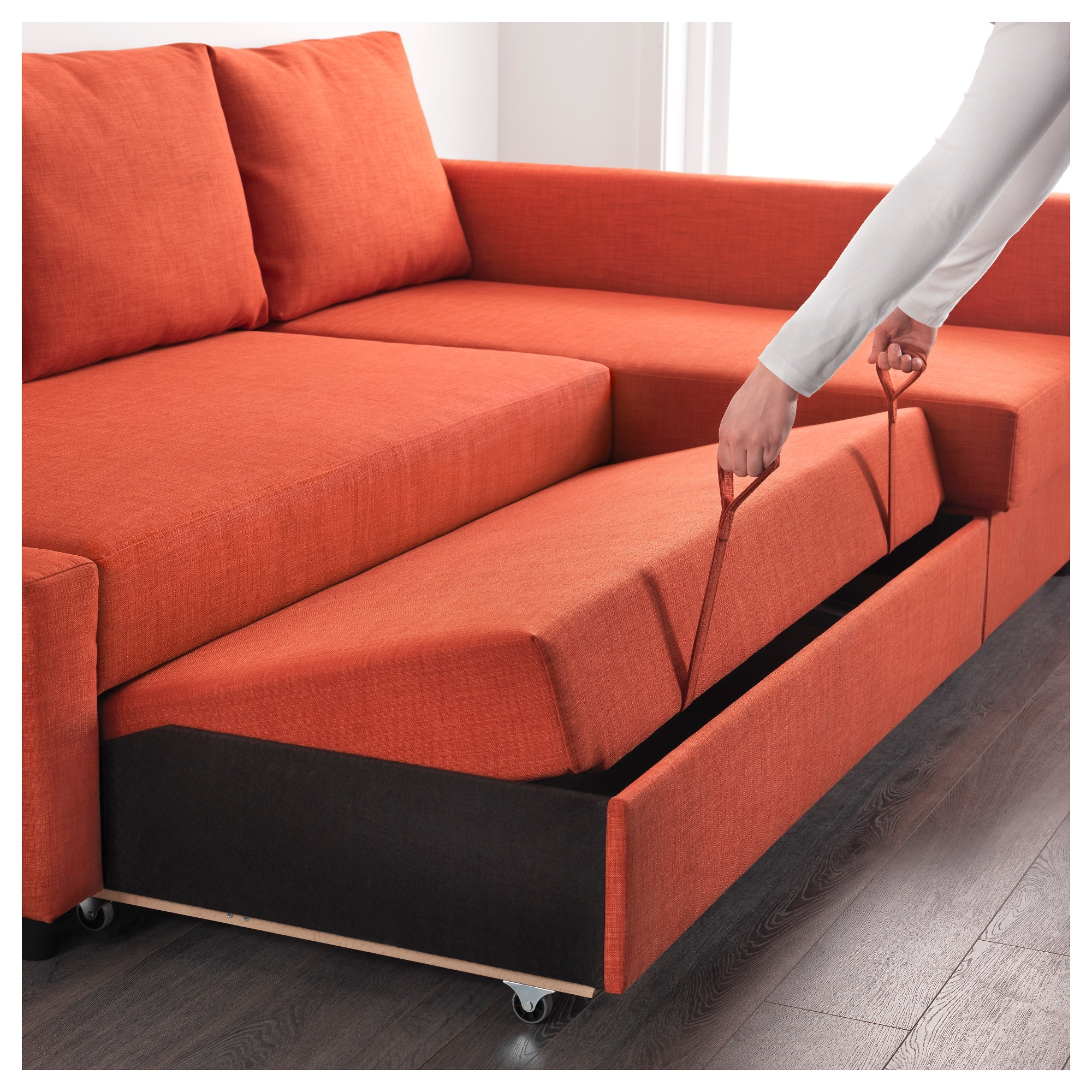 Friheten Corner Sofa Bed With Storage Skiftebo Dark Orange – Ikea For Fashionable Ikea Corner Sofas With Storage (View 8 of 15)