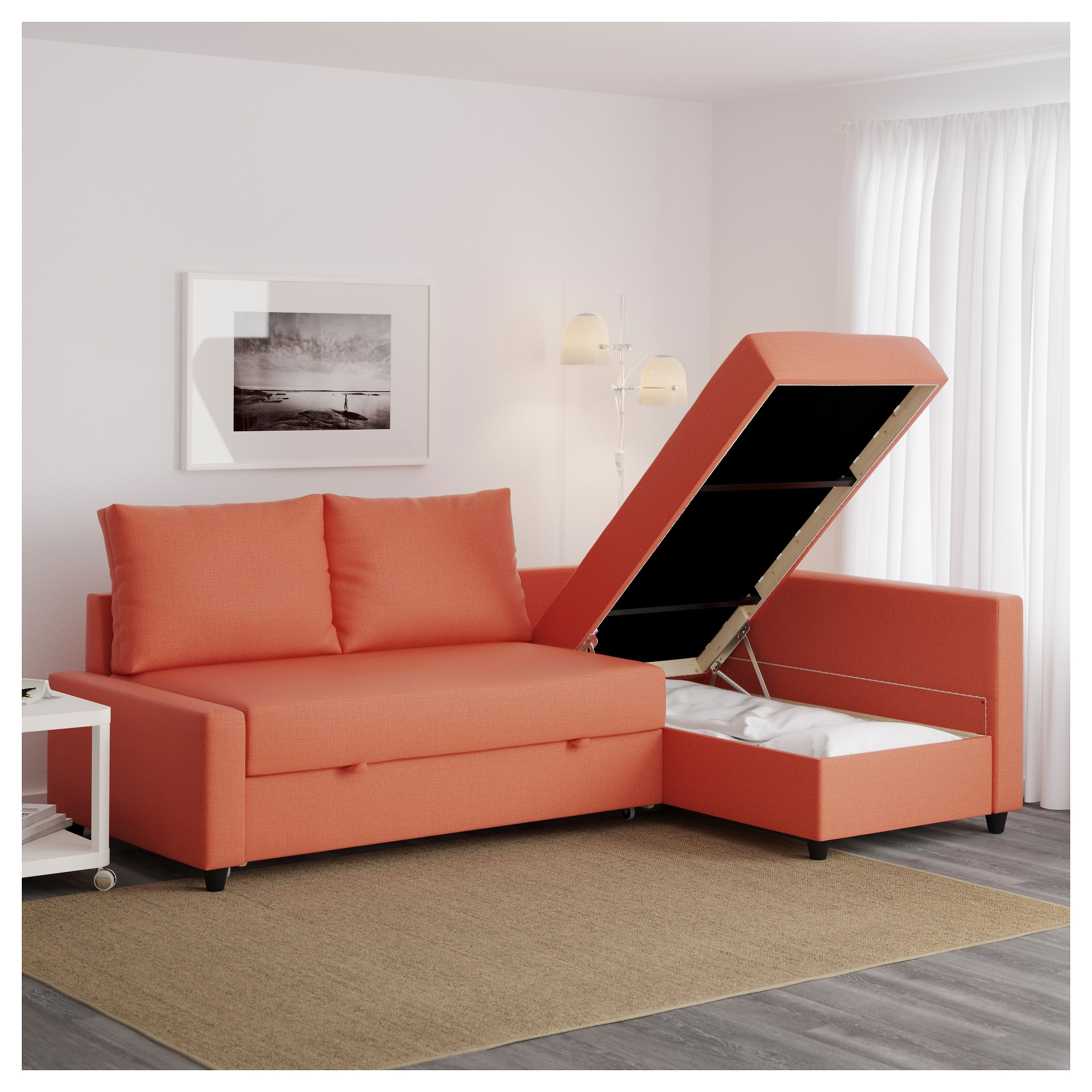 Friheten Corner Sofa Bed With Storage Skiftebo Dark Orange – Ikea With Regard To Recent Storage Sofas (View 12 of 15)