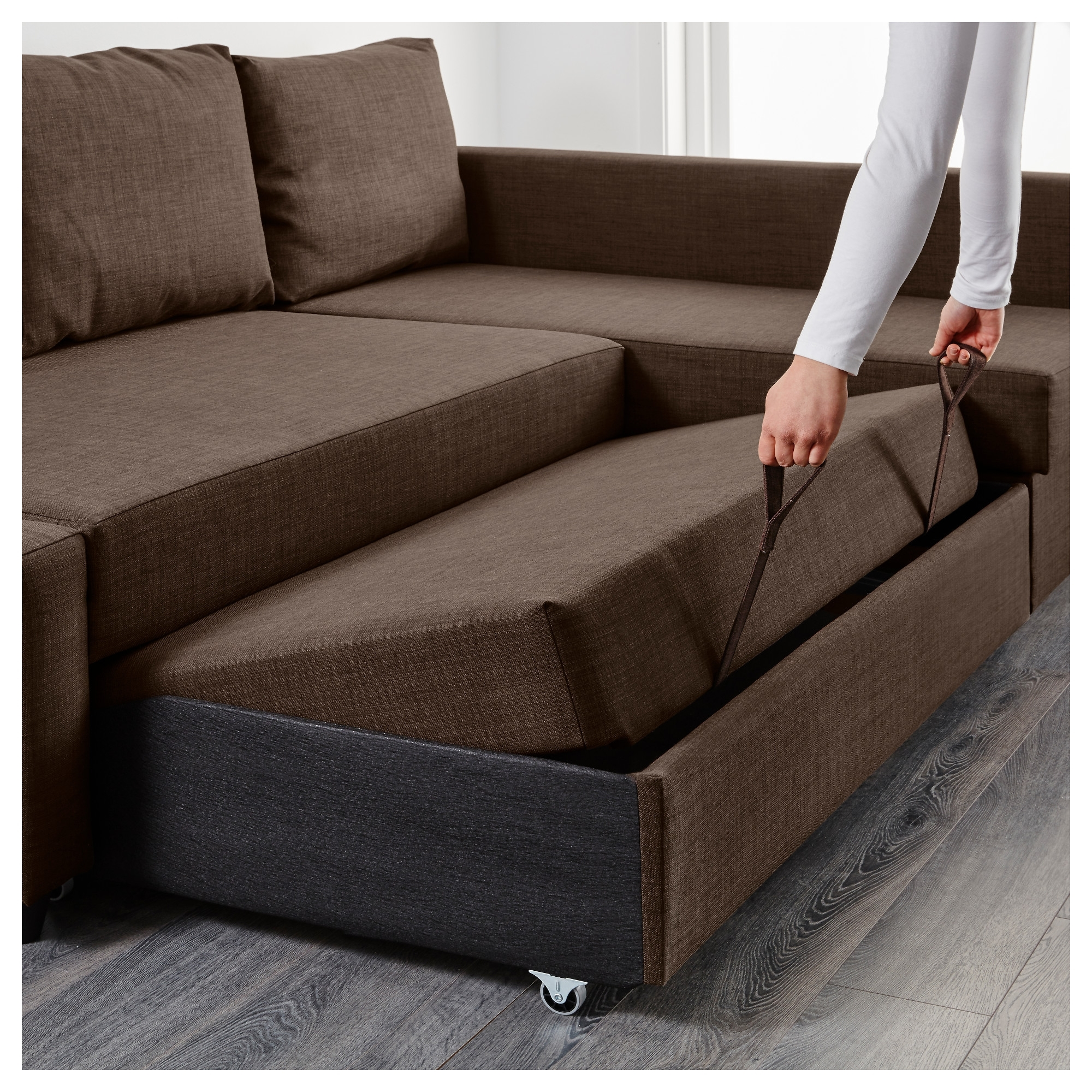 Friheten Sleeper Sectional,3 Seat W/storage – Skiftebo Dark Gray Within Well Known Sleeper Sofas With Storage Chaise (View 10 of 15)