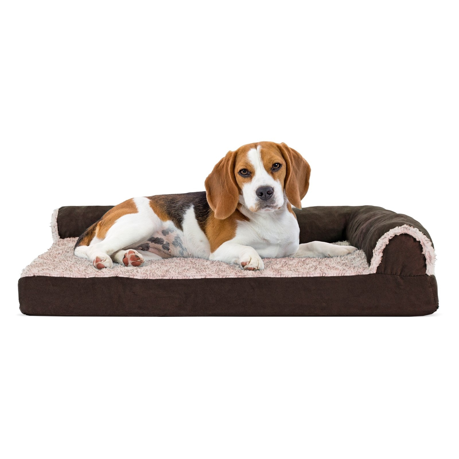 Furhaven Two Tone Faux Fur & Suede Orthopedic Deluxe Chaise Lounge Regarding Most Recently Released Dog Chaise Lounges (View 10 of 15)