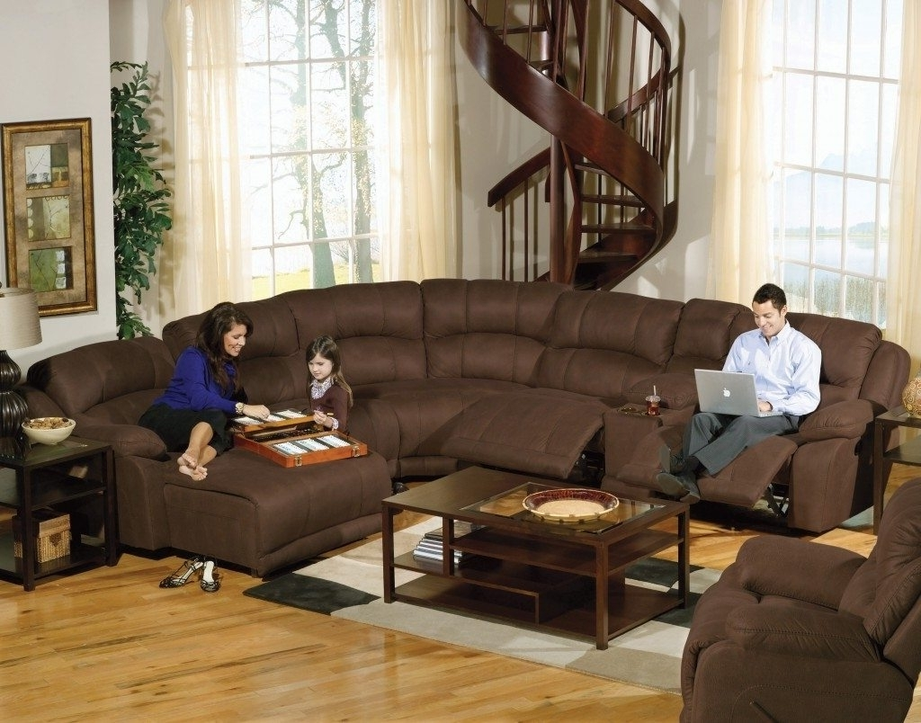Furniture: Amazing Leather Reclining Sectional Sofa Design Within Recent Reclining Sectionals With Chaise (View 7 of 15)