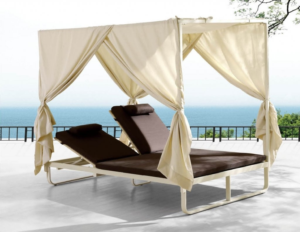Furniture: Dark Brown Double Outdoor Chaise Lounge With White For Famous Outdoor Chaise Lounge Chairs With Canopy (View 8 of 15)