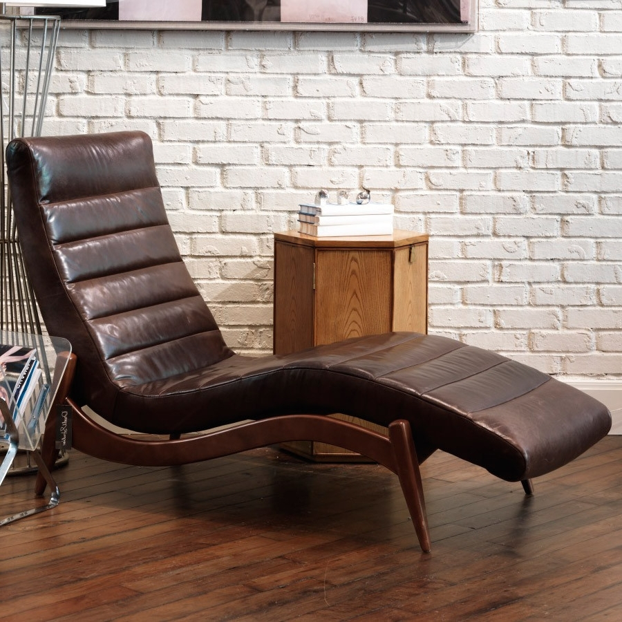 Furniture: Elegant Black Leather Chaise For Living Room With Favorite Black Leather Chaise Lounge Chairs (View 15 of 15)