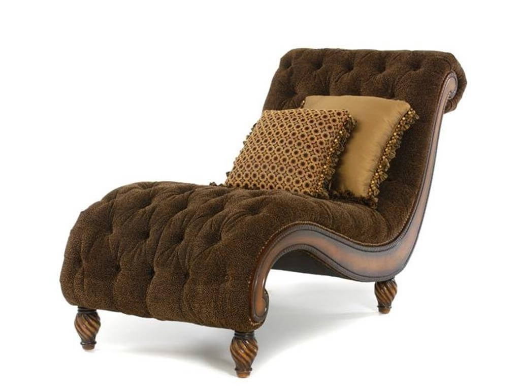 Furniture: Exclusive Brown Tufted Chaise Settee With Two Pillows Inside Preferred Velvet Chaise Lounge Chairs (View 14 of 15)