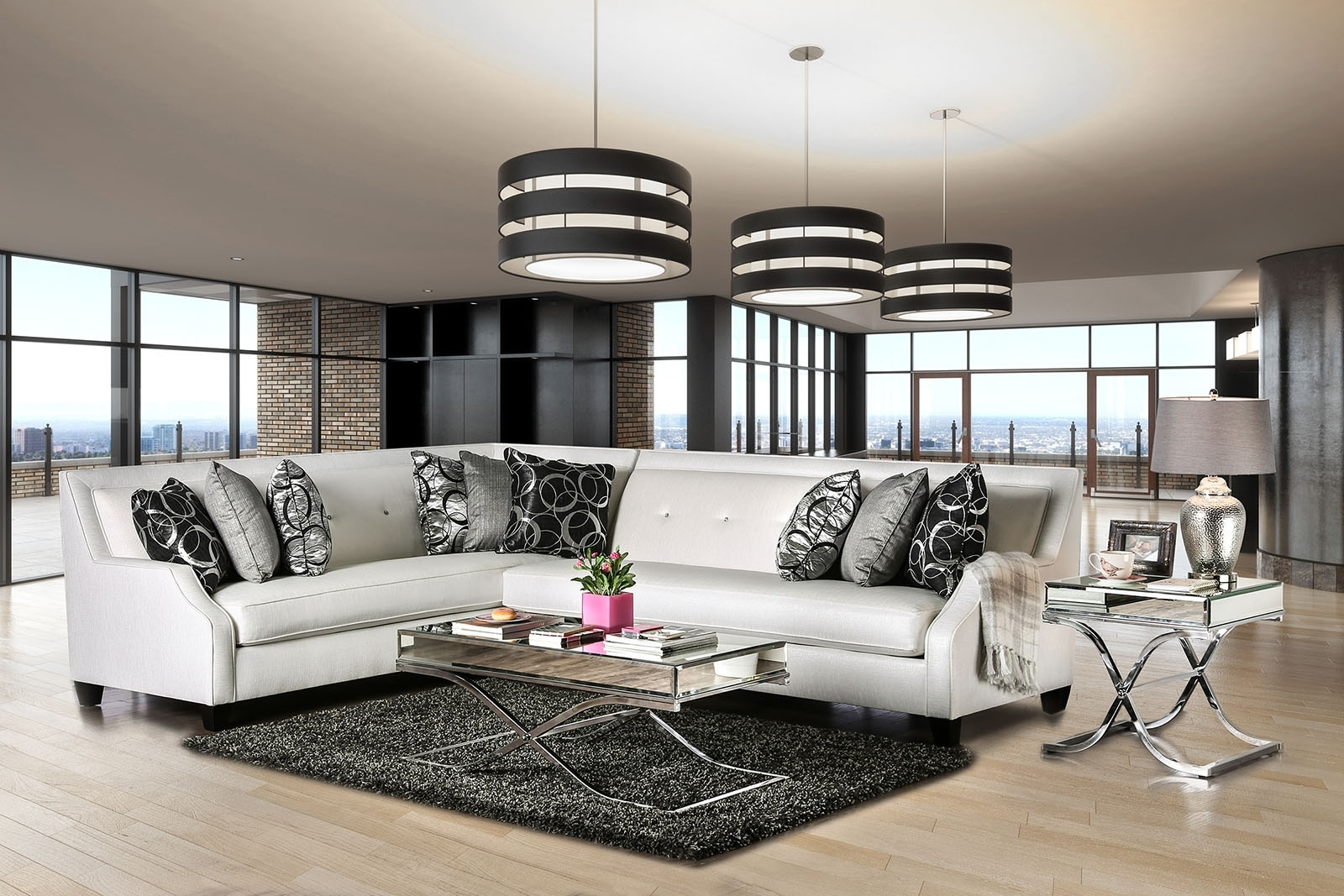 Furniture Of America Sm2263 Off White Jewel Tufted Sectional Sofa In 2018 Tufted Sectional Sofas (View 13 of 15)