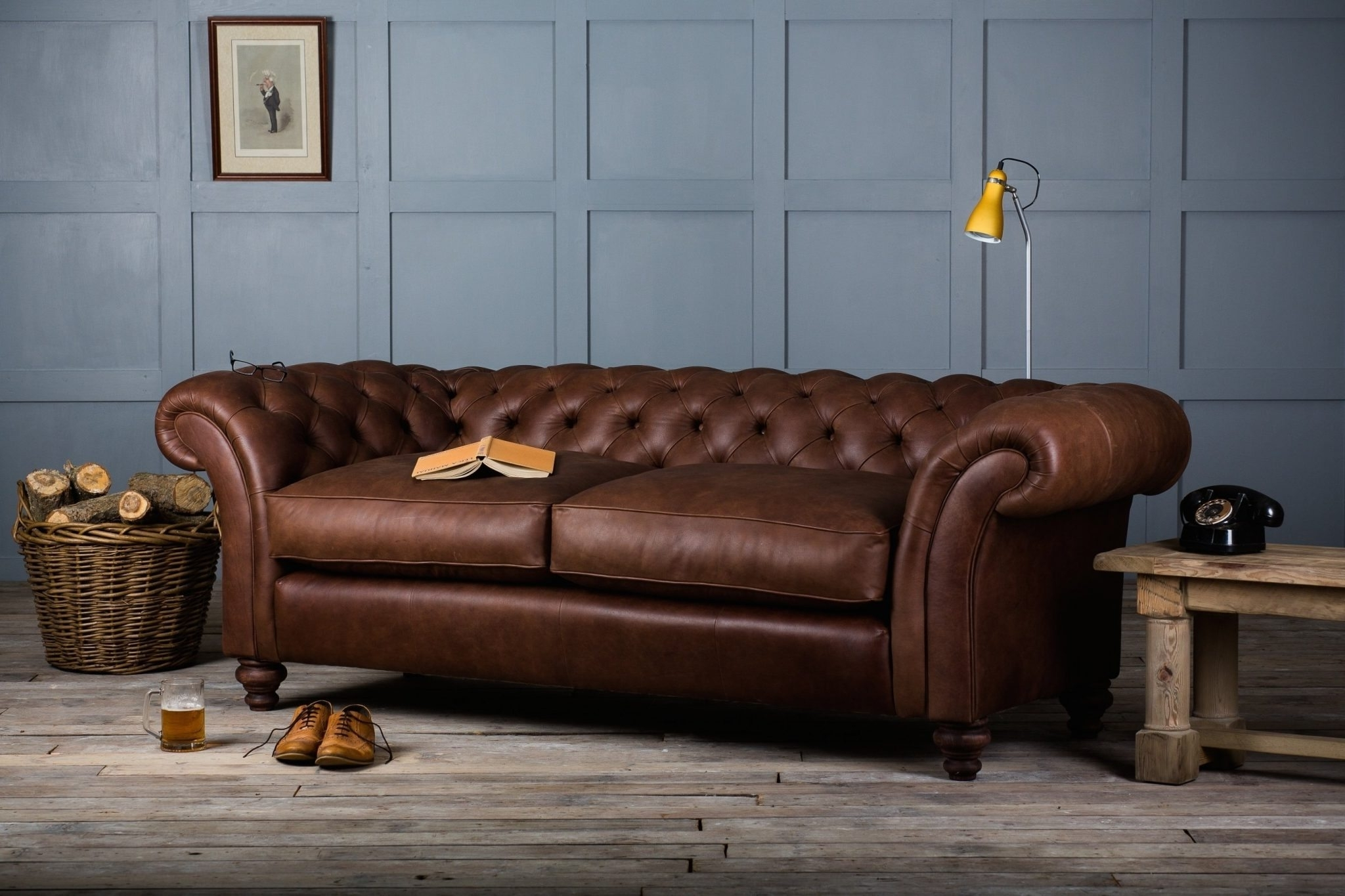 Furniture: Tufted Full Grain Leather Sofa With Wooden Flooring And For Famous Full Grain Leather Sofas (View 3 of 15)