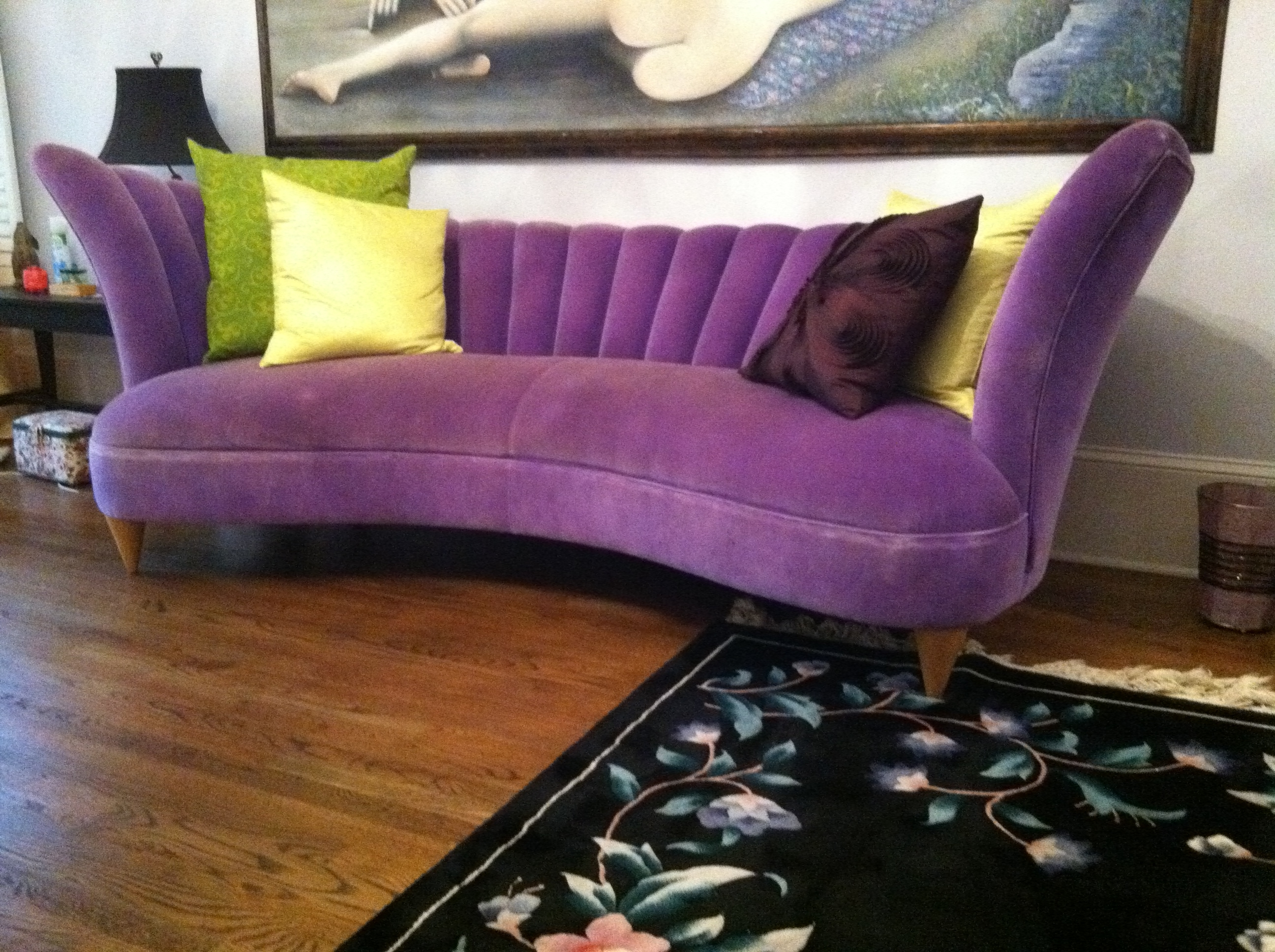 Furniture: Warm Purple Sofa To Complete Your Living Room Decor Within Newest Velvet Chaise Settees (View 3 of 15)