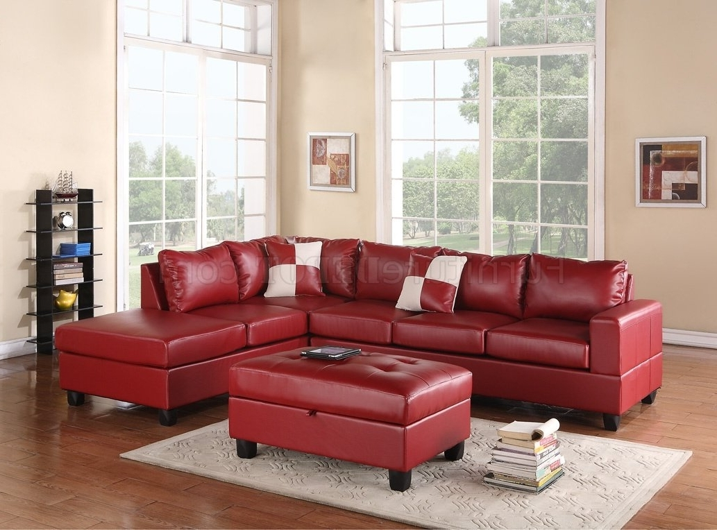 G309 Sectional Sofa In Red Bonded Leatherglory W/ottoman For Well Known Red Sectional Sofas With Ottoman (View 9 of 15)
