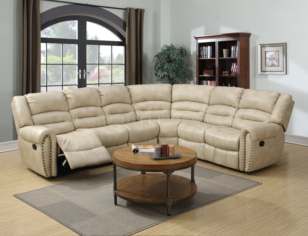 G687 Motion Sectional Sofa In Beige Bonded Leatherglory Within Widely Used Motion Sectional Sofas (View 4 of 15)