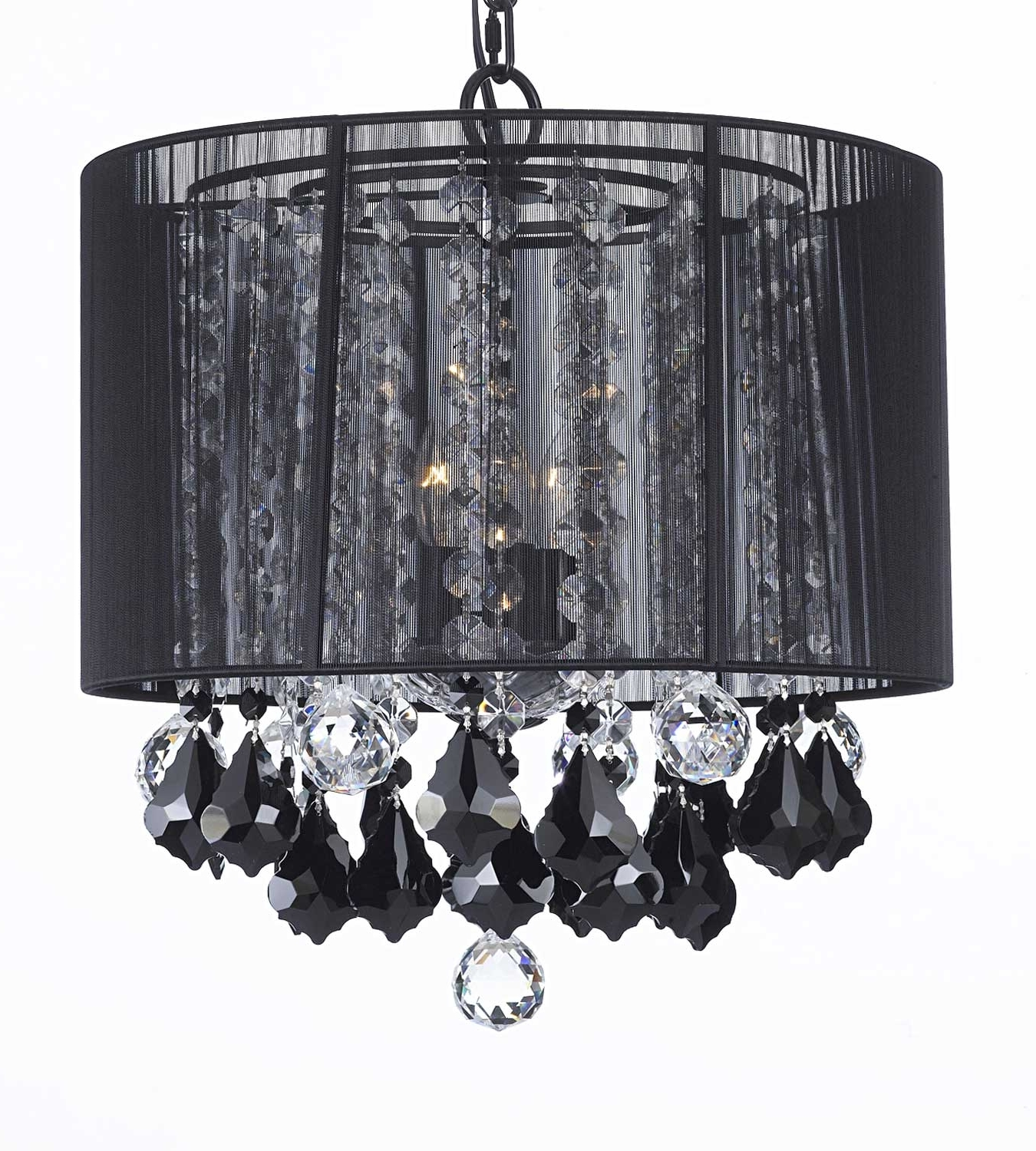 G7 Black/604/3 Gallery Chandeliers With Shades Crystal Chandelier Regarding Best And Newest Chandeliers With Black Shades (View 5 of 15)
