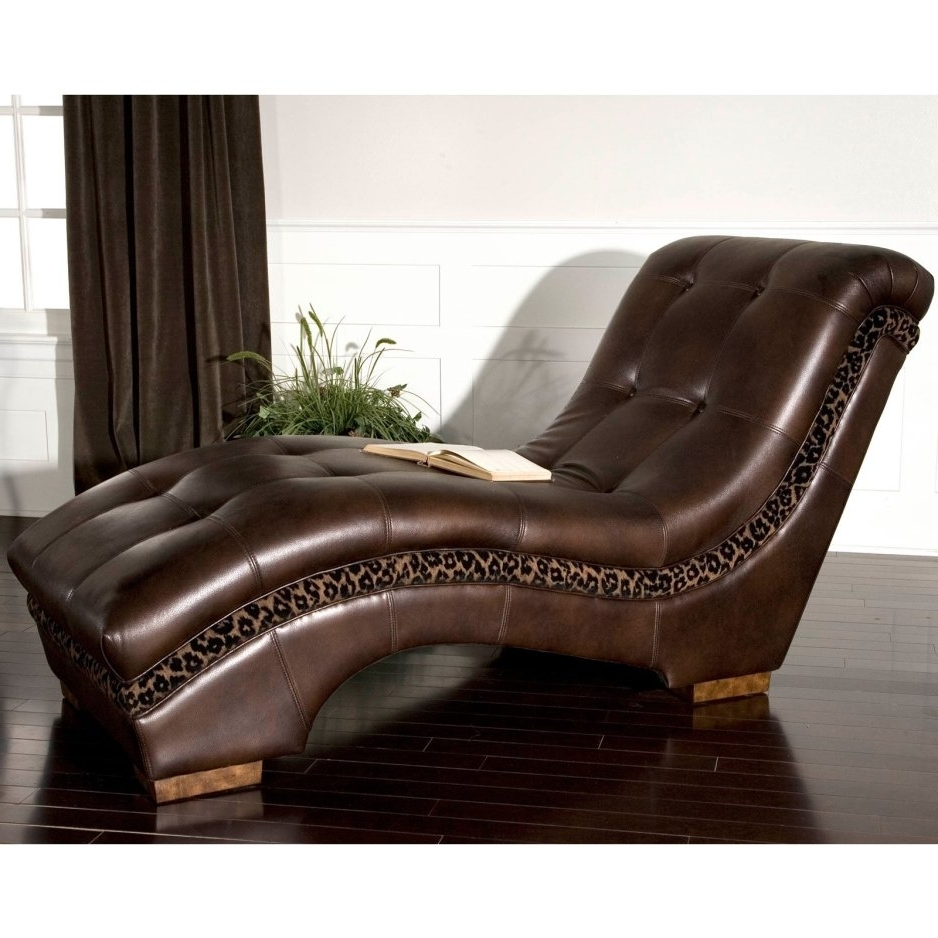 Gabriel Leather Chaise Lounge Chair Indoor Bonded Leather And Wood Intended For Most Recent Chaise Lounge Chairs For Indoor (View 7 of 15)