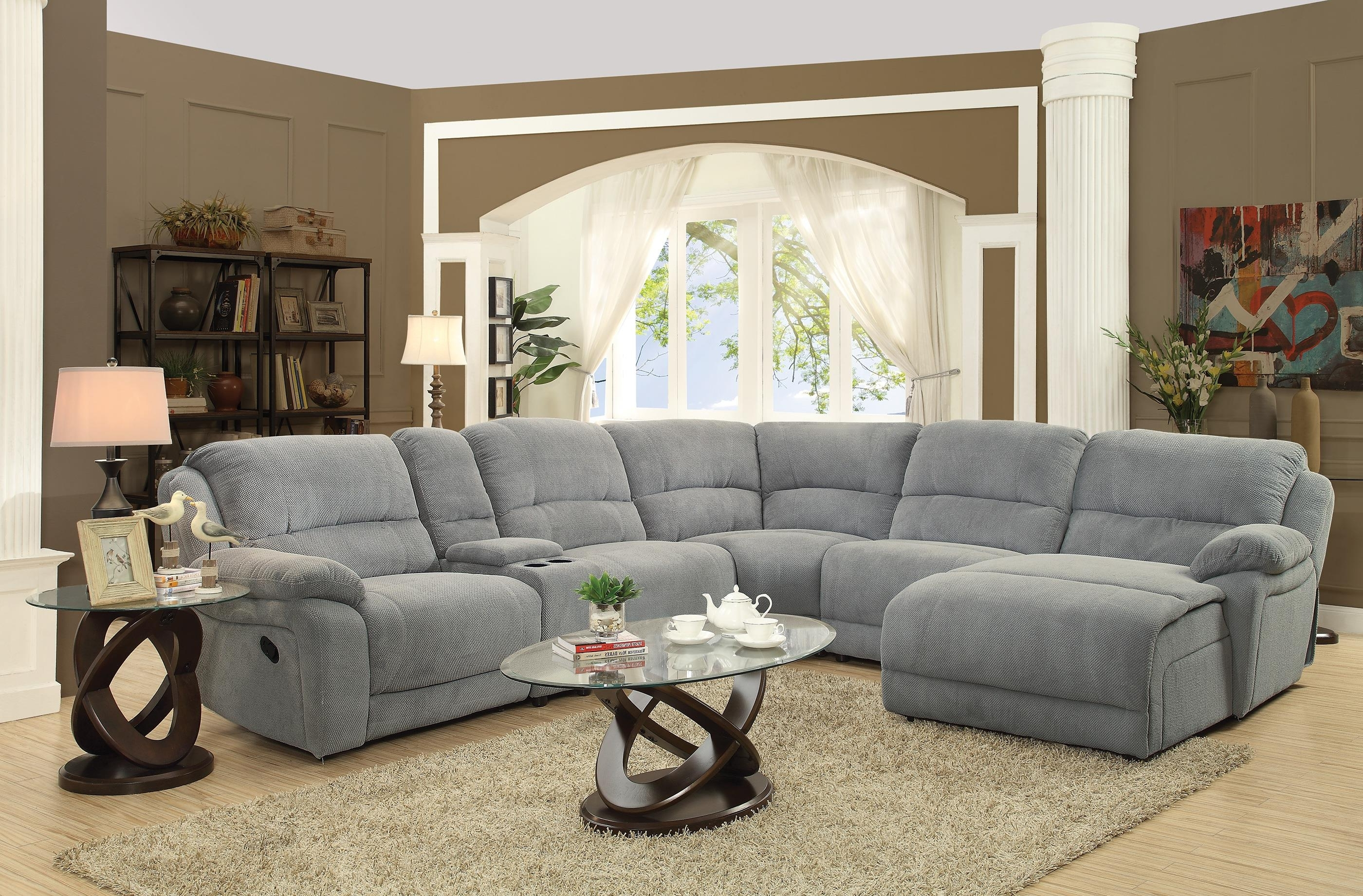 Gallery Furniture Sectional Sofas In Most Up To Date Recliners Chairs & Sofa : Fabric Reclining Sectional Sofa With (View 4 of 15)
