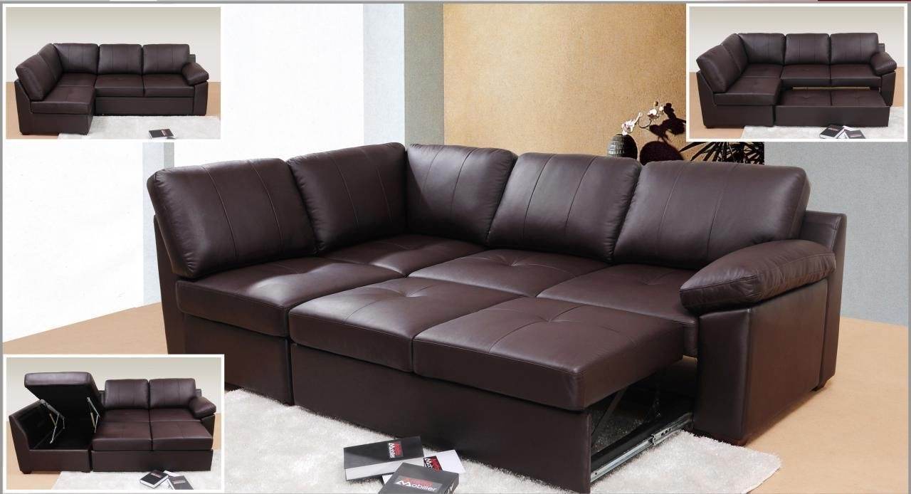 Genuine Leather Corner Sofa Bed With Storage (View 4 of 15)