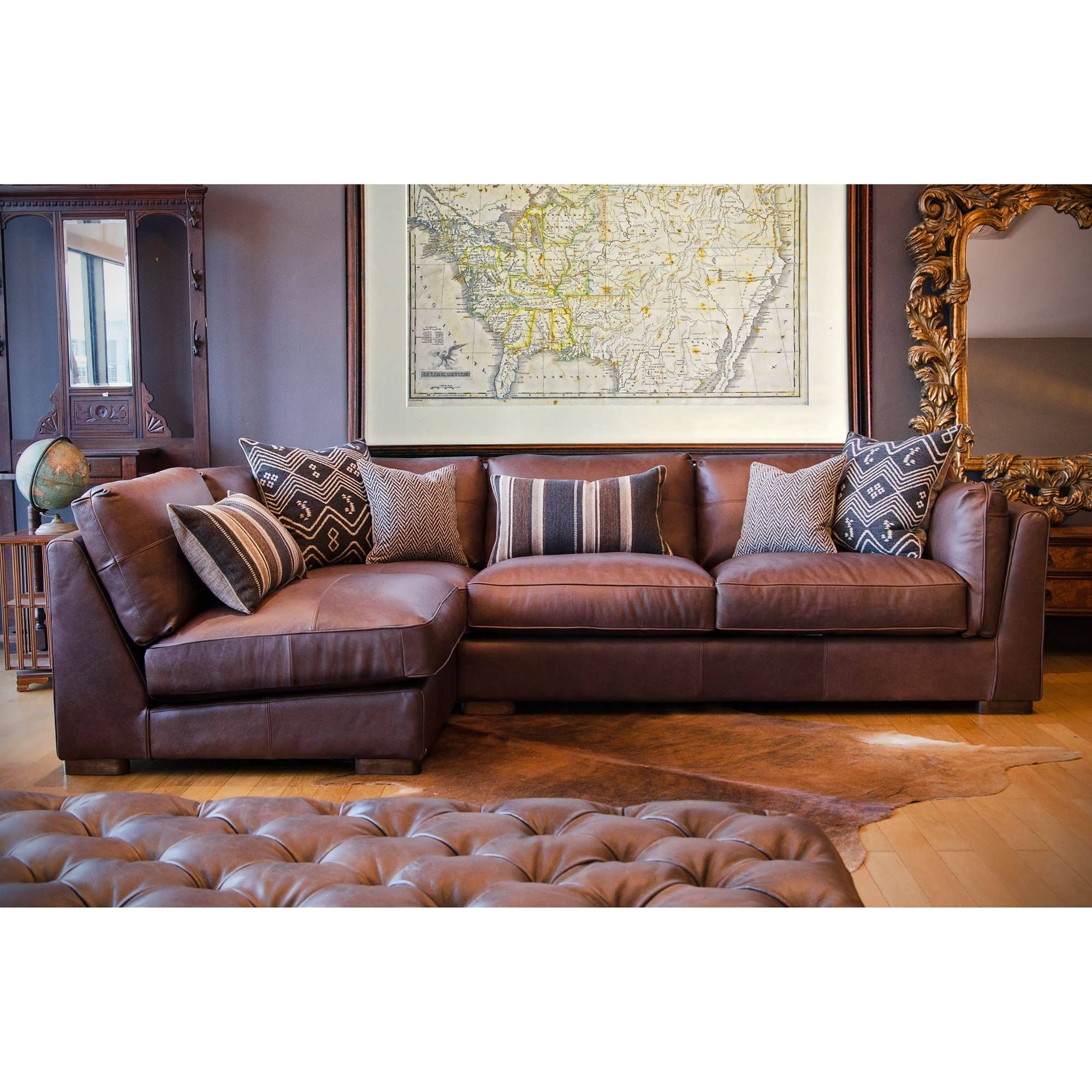 Genuine Leather Sectionals With Chaise Inside Best And Newest Sofa : Reclining Sectional With Chaise Genuine Leather Sectional (View 7 of 15)