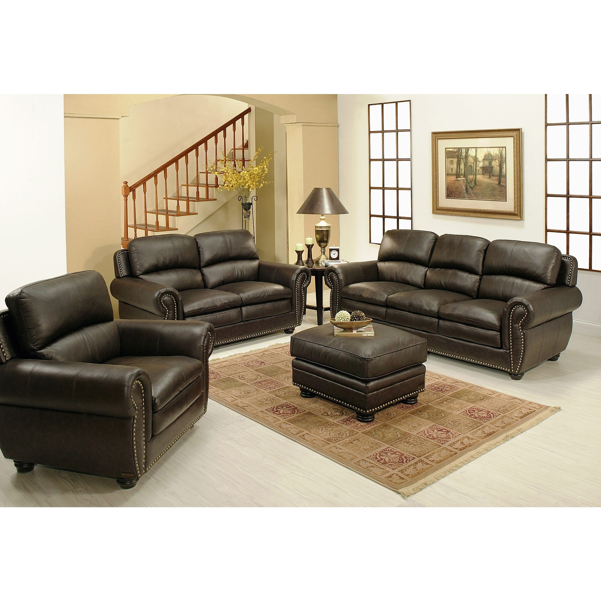 Genuine Leather Sectionals With Chaise Intended For Well Liked Furniture: Stunning Home Furniture With Cool Costco Leather (View 9 of 15)