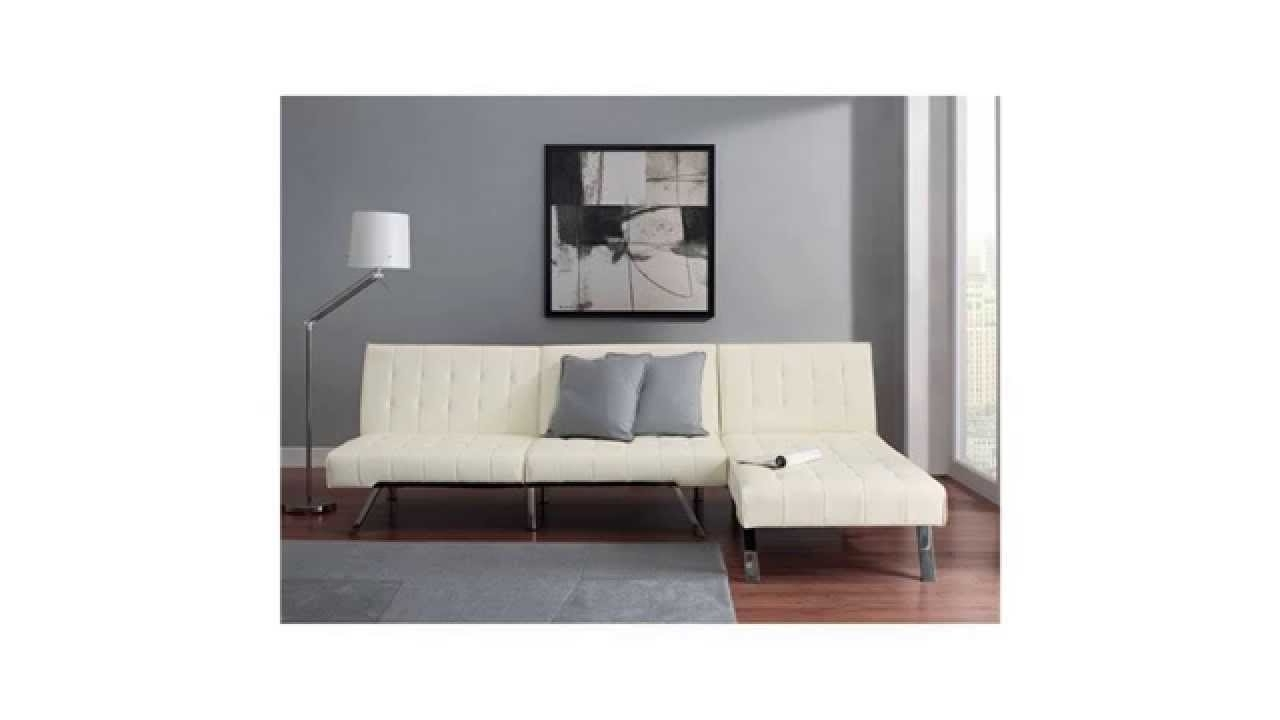 Get Emily Futon With Chaise Lounger Super Bonus Set Vanilla White In Well Liked Emily Chaise Lounges (View 11 of 15)