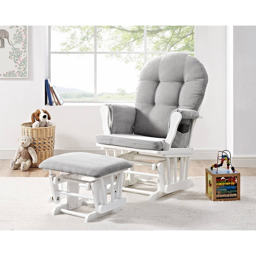 Glider Ottoman Furniture Nursery Chair Baby Rocking Set White With Intended For Preferred Gliders With Ottoman (View 4 of 15)
