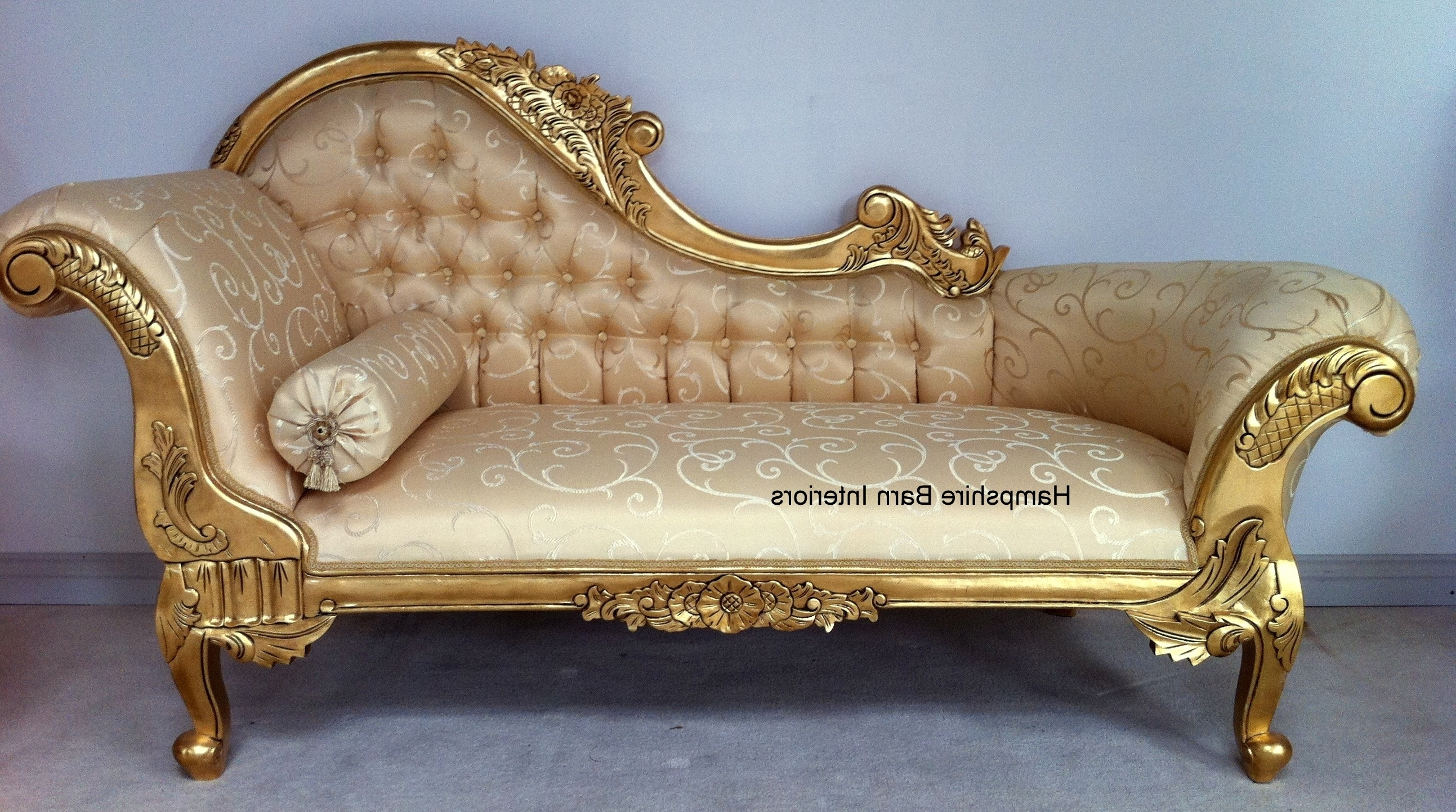 Gold Chaise Lounge Chairs Within Famous Cream And Gold Colours For Chaise Lounge : 15 Breathtaking Cream (View 3 of 15)