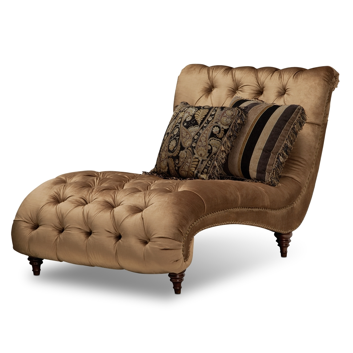 Gold Chaise Lounges Regarding Latest Gold Tufted Chaise Lounge Chair With Accent Pillows In Bedroom (View 7 of 15)