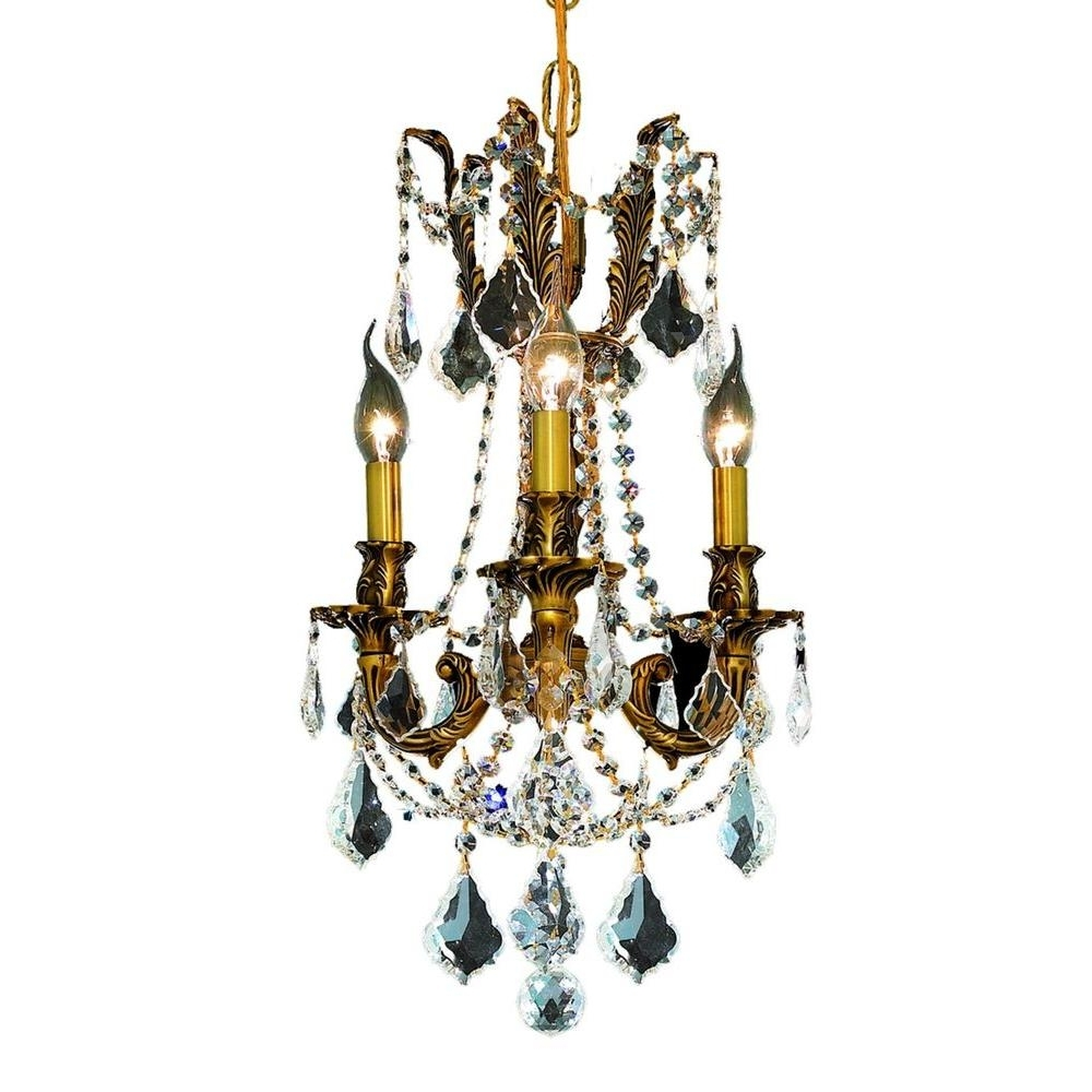 Gold – Crystal – Chandeliers – Lighting – The Home Depot Pertaining To Best And Newest Crystal Gold Chandeliers (Gallery 11 of 15)