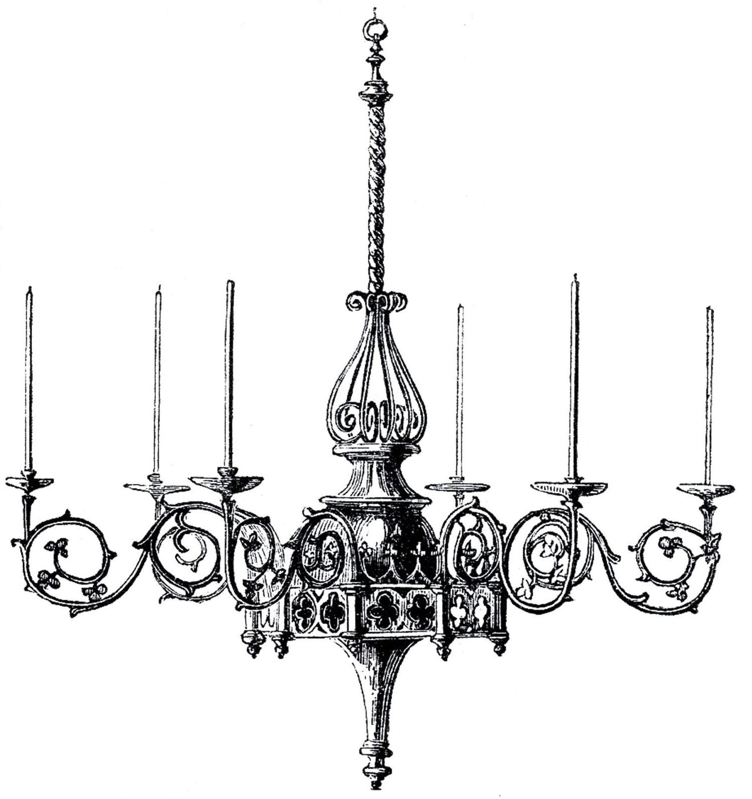 Gothic Chandelier, Clip Art And (Gallery 2 of 15)
