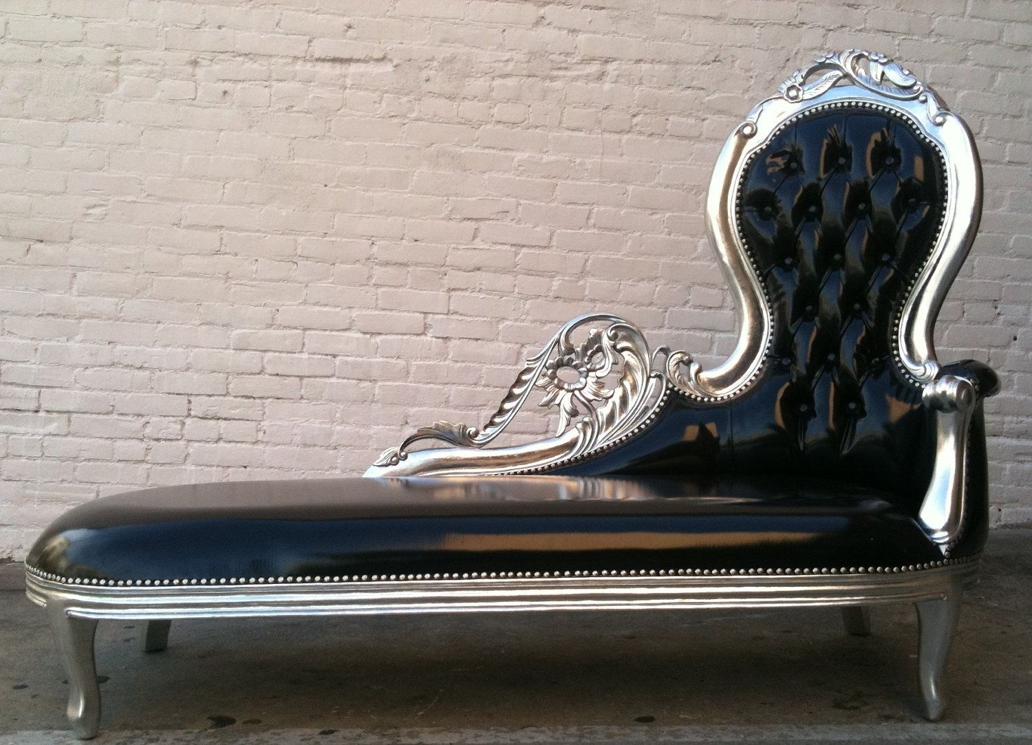 Gothic Sofas With Regard To 2018 Shiny Black Vinyl & Silver Leaf Wooded Frame French Chaise Lounge (View 8 of 15)