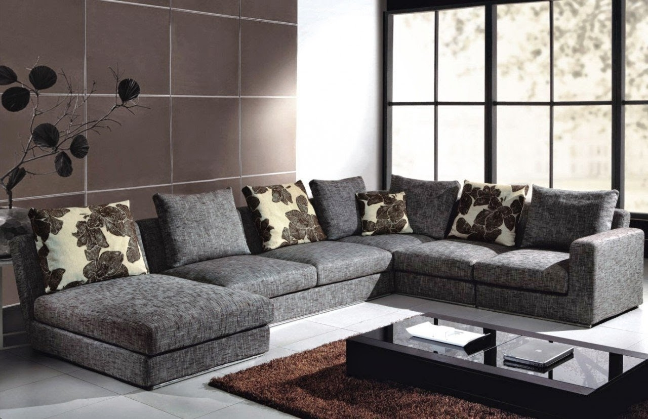 Gray Canvas Deep Oversized Sectional Sofa With Chaise Lounge And Within Most Up To Date Deep Cushion Sofas (View 8 of 15)