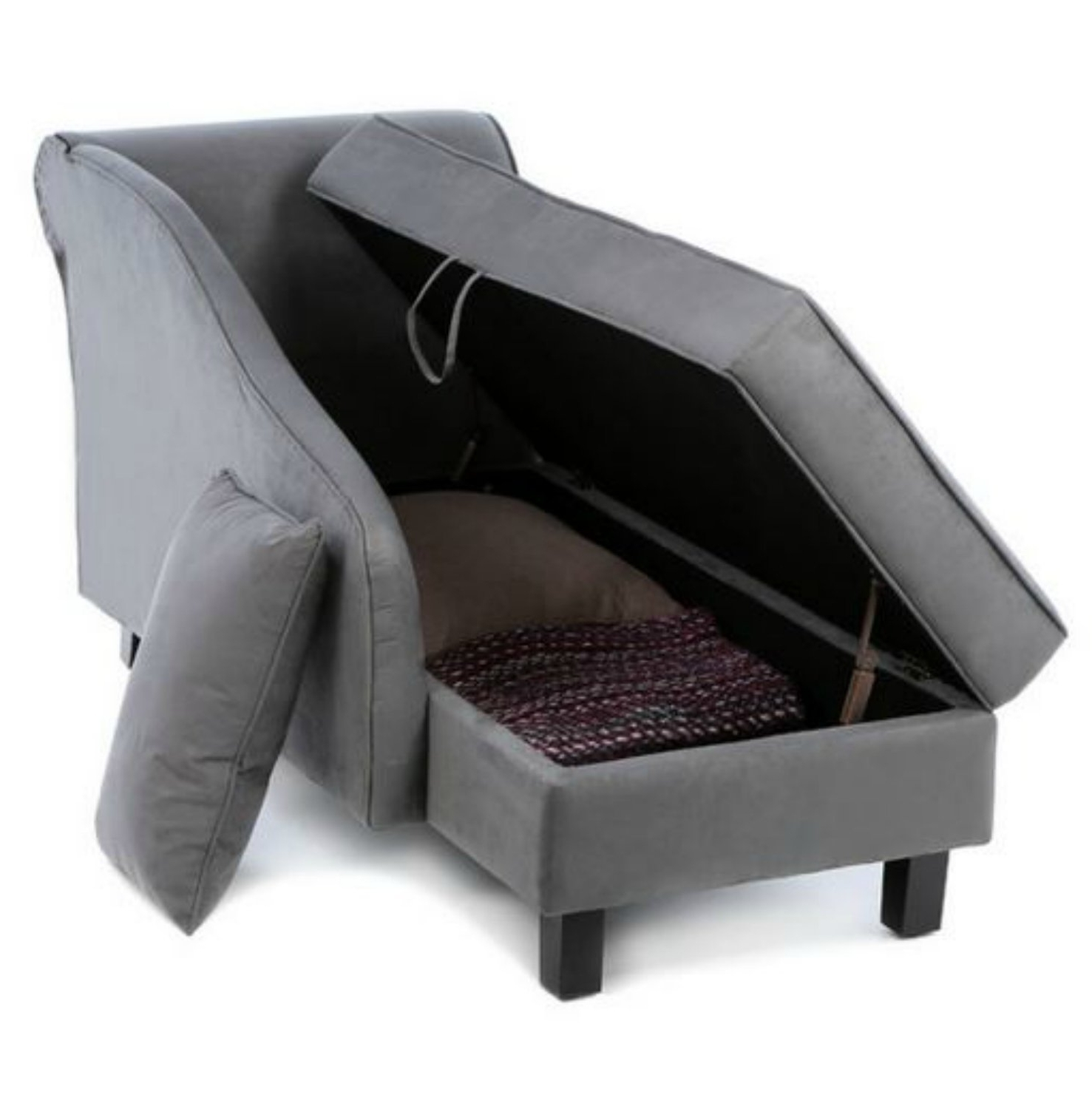 Gray Chaise Lounge Chairs For Most Recent Amazon: Storage Chaise Lounge Chair  This Microfiber (View 6 of 15)