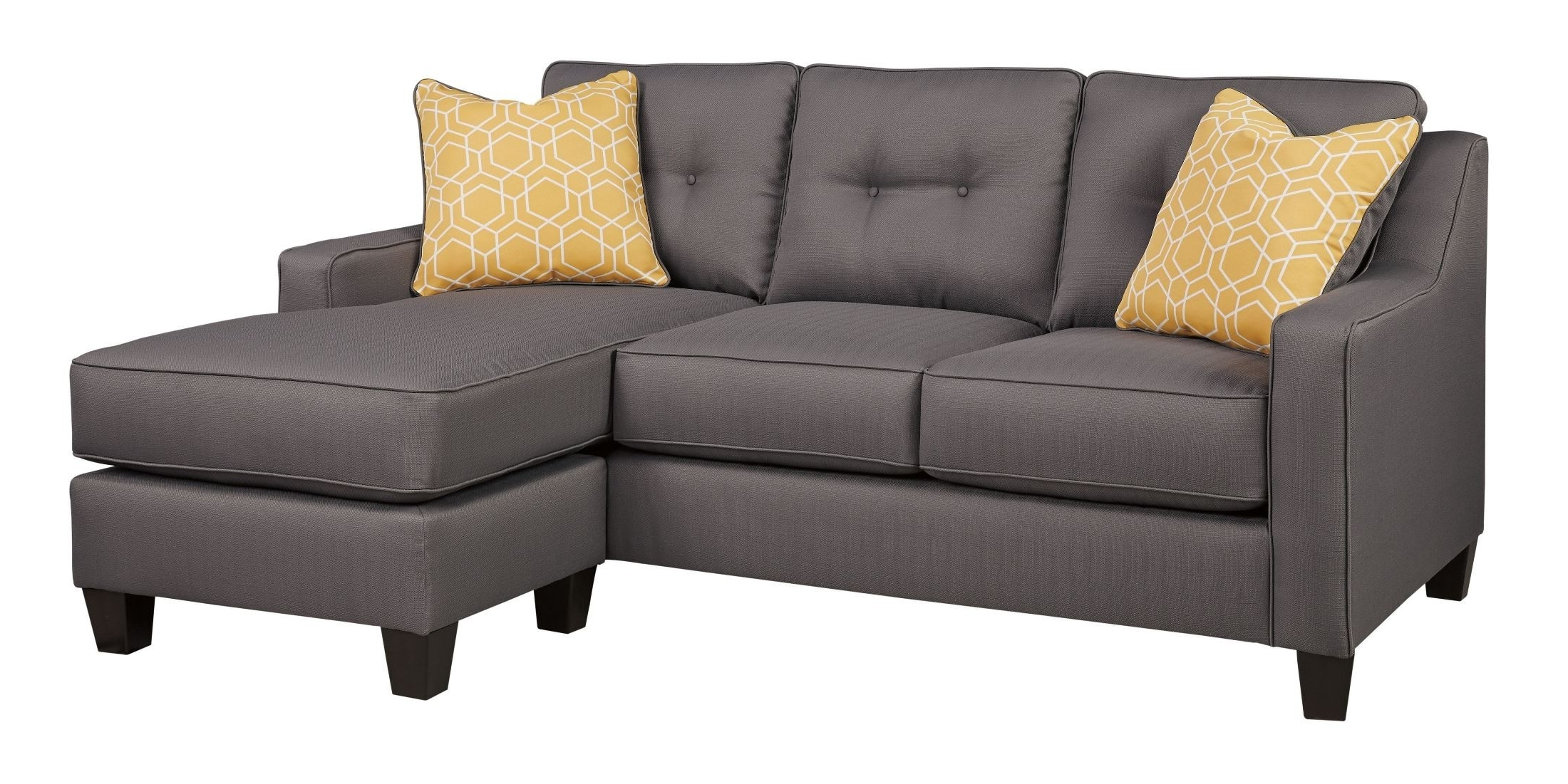Gray Sofa With Chaise Regarding Favorite Aldie Nuvella Gray Sofa Chaise From Ashley (View 6 of 15)