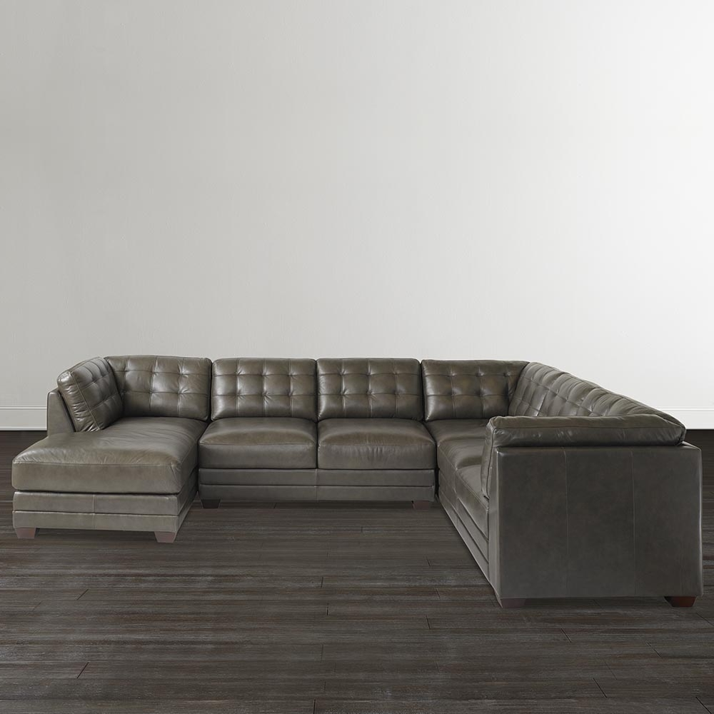 Gray U Shaped Sectionals With Regard To Trendy Slate Grey Leather U Shaped Sectional (View 8 of 15)