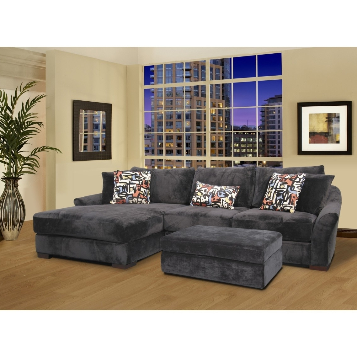 Gray Velvet Oversized Sectional Sleeper Sofa With Left Chaise For Trendy Oversized Sectional Sofas With Chaise (View 2 of 15)