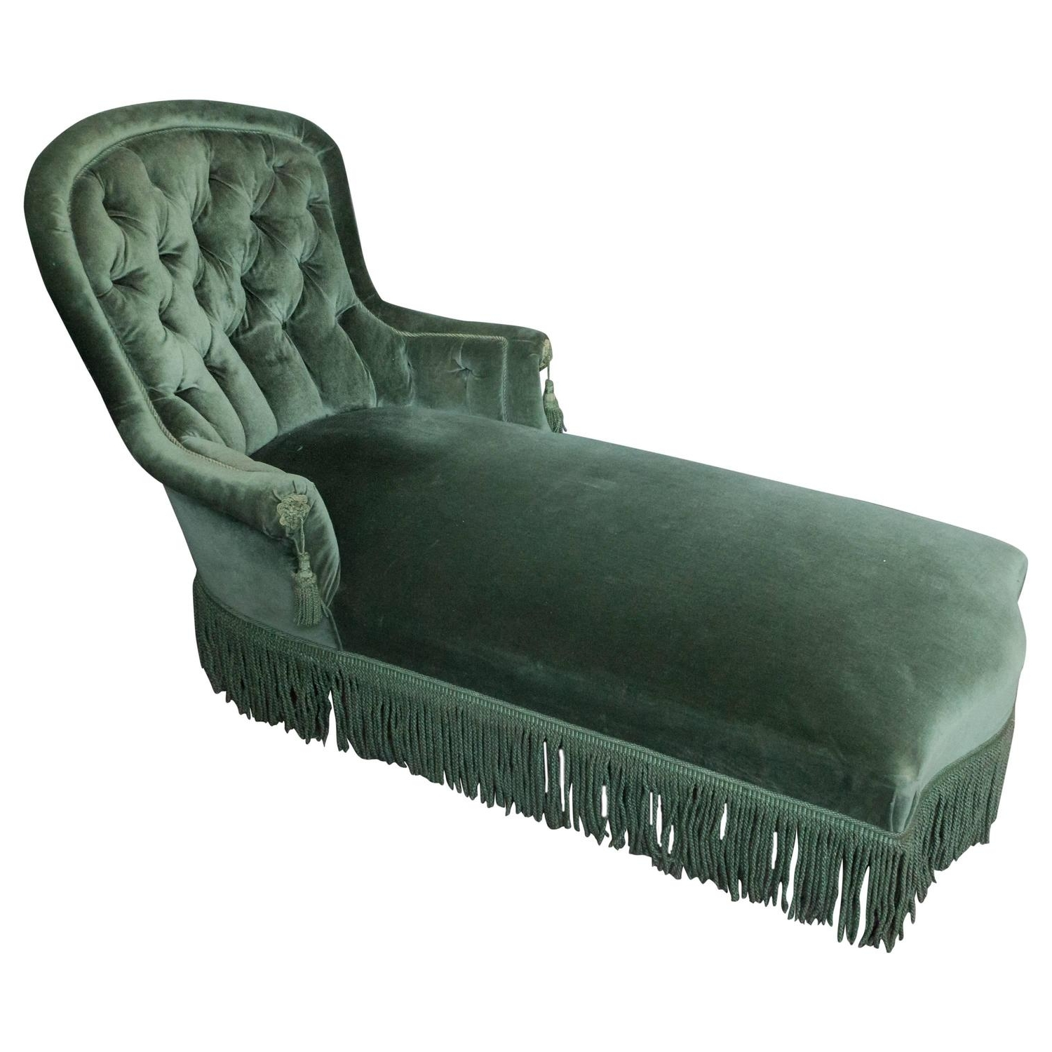 Green Chaise Lounges Pertaining To Well Liked Elegant French Chaise Longue In Green Velvet At 1Stdibs (View 15 of 15)