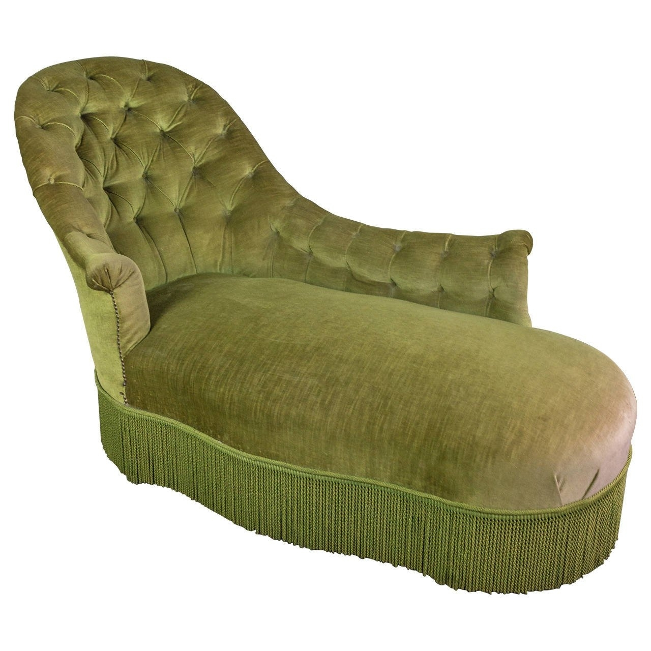 Green Chaises Within Well Known Tufted Asymmetrical Green Chaise Longue For Sale At 1Stdibs (View 9 of 15)