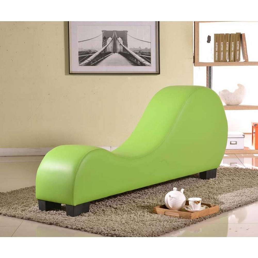 Green Faux Leather Chaise Lounge Cl 06 – The Home Depot Intended For Fashionable Chaise Chairs (View 12 of 15)
