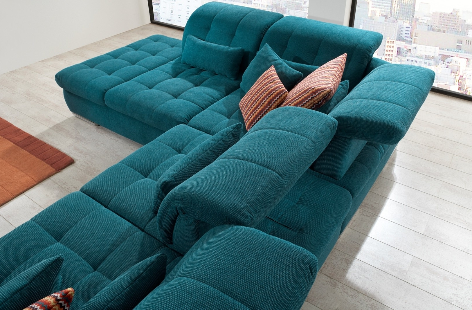 Green Sectional Sofas Regarding Best And Newest Alpine Sectional Sofa In Green Fabric (View 8 of 15)