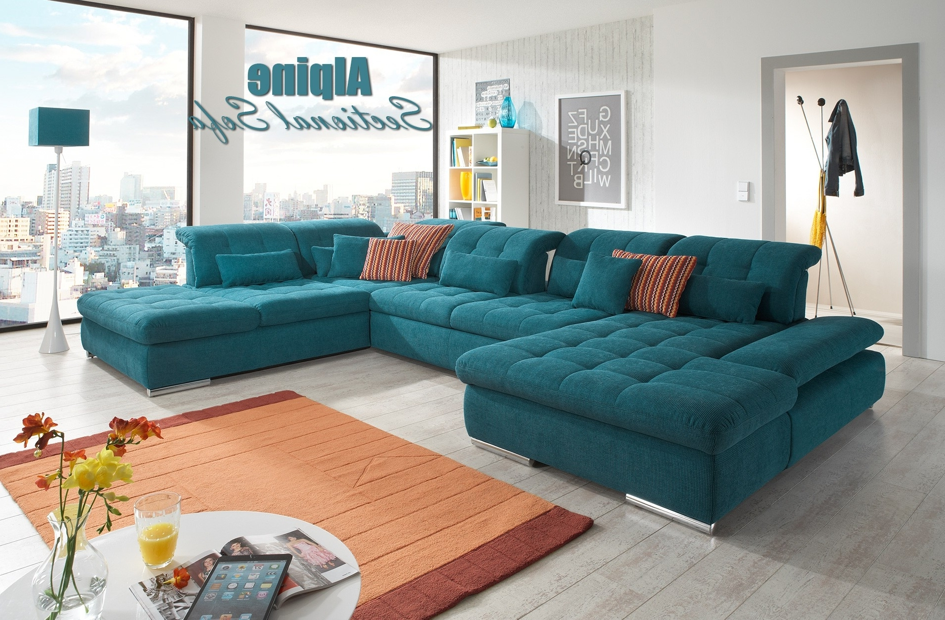 Green Sectional Sofas With Regard To Trendy Alpine Sectional Sofa In Green Fabric (View 9 of 15)